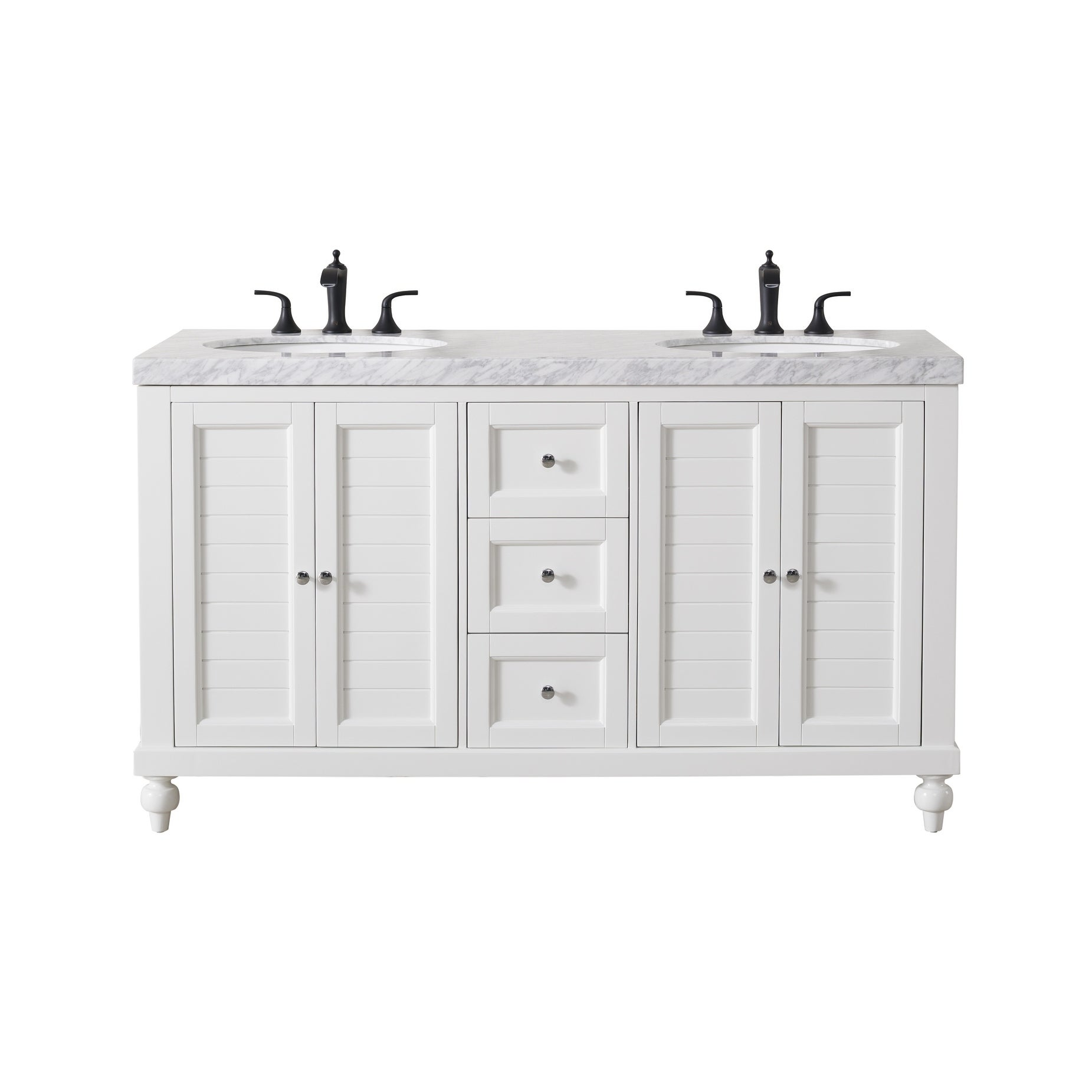 Stufurhome Kent 12 Inch White Double Sink Bathroom Vanity with Drains and  Faucets in Matte Black