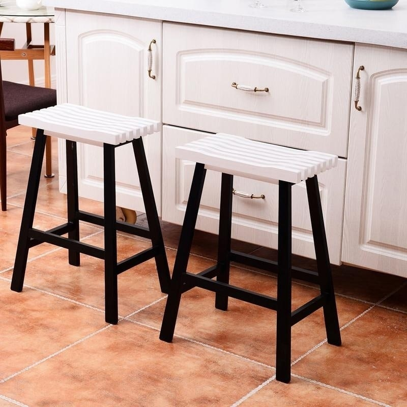 Kitchen Wooden Counter Chair Dining Bar Stools Set Of 2 Free Shipping Today 22484993