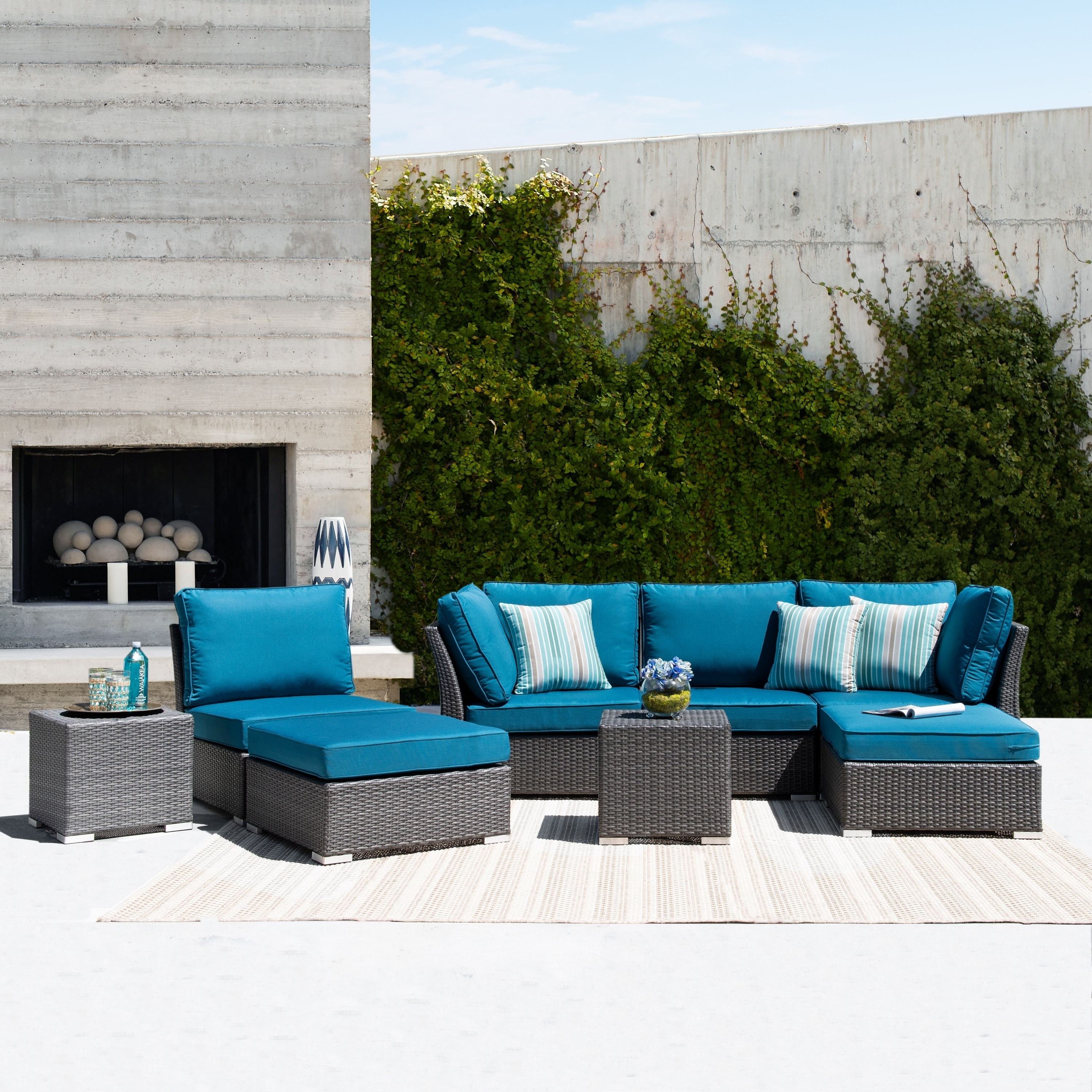 Corvus 8 Piece Dark Grey Wicker Patio Aluminum Sofa Set With Blue Cushions