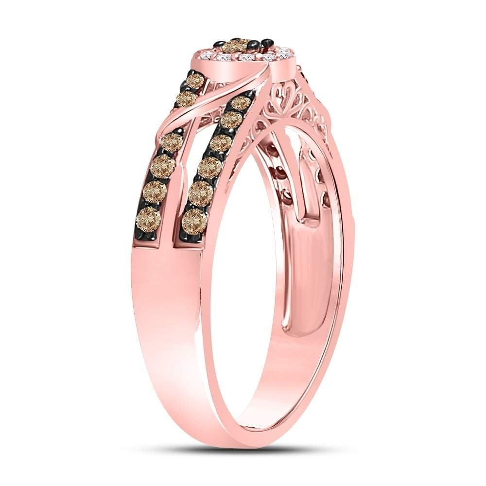 10kt Rose Gold Womens Round Brown Color Enhanced Diamond Solitaire ...