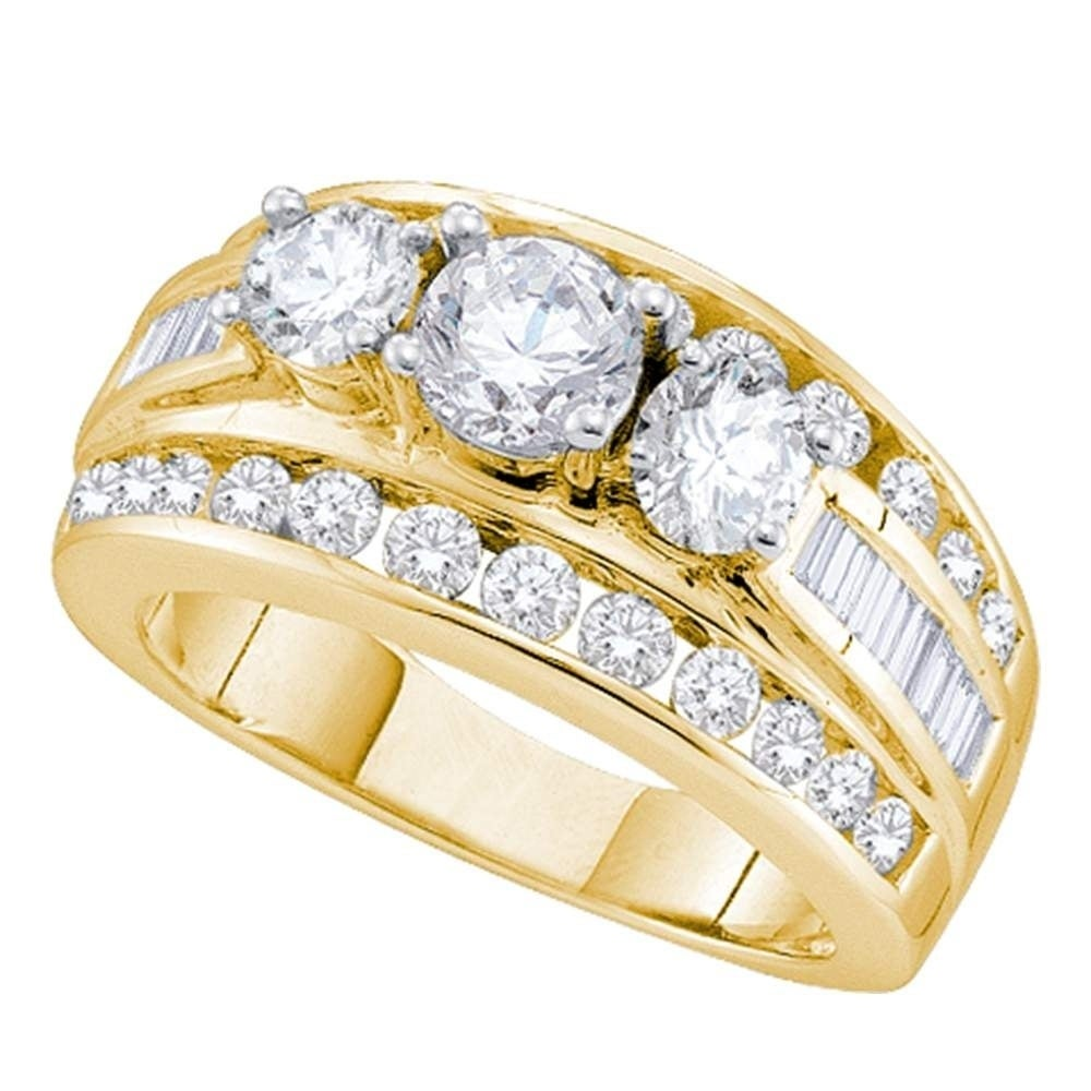 Shop 14kt Yellow Gold Womens Round Diamond 3stone Bridal Wedding Engagement Ring 100 Cttw Size 7 On Sale Free Shipping Today Overstock: 3 Stone Wedding Rings Women At Websimilar.org