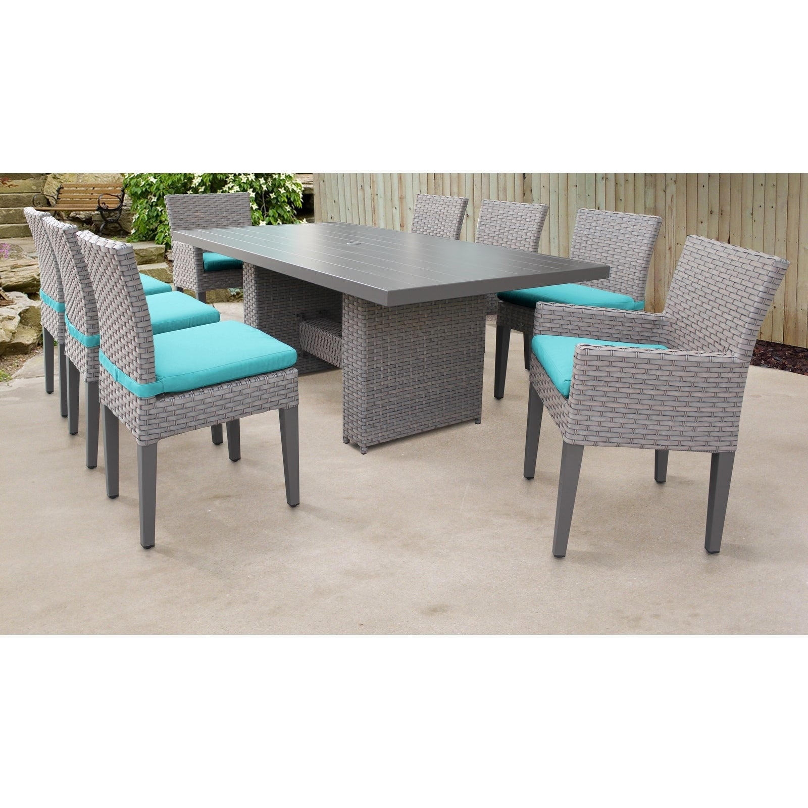 Florence Rectangular Outdoor Patio Dining Table With 6 Armless Chairs And 2 W Arms