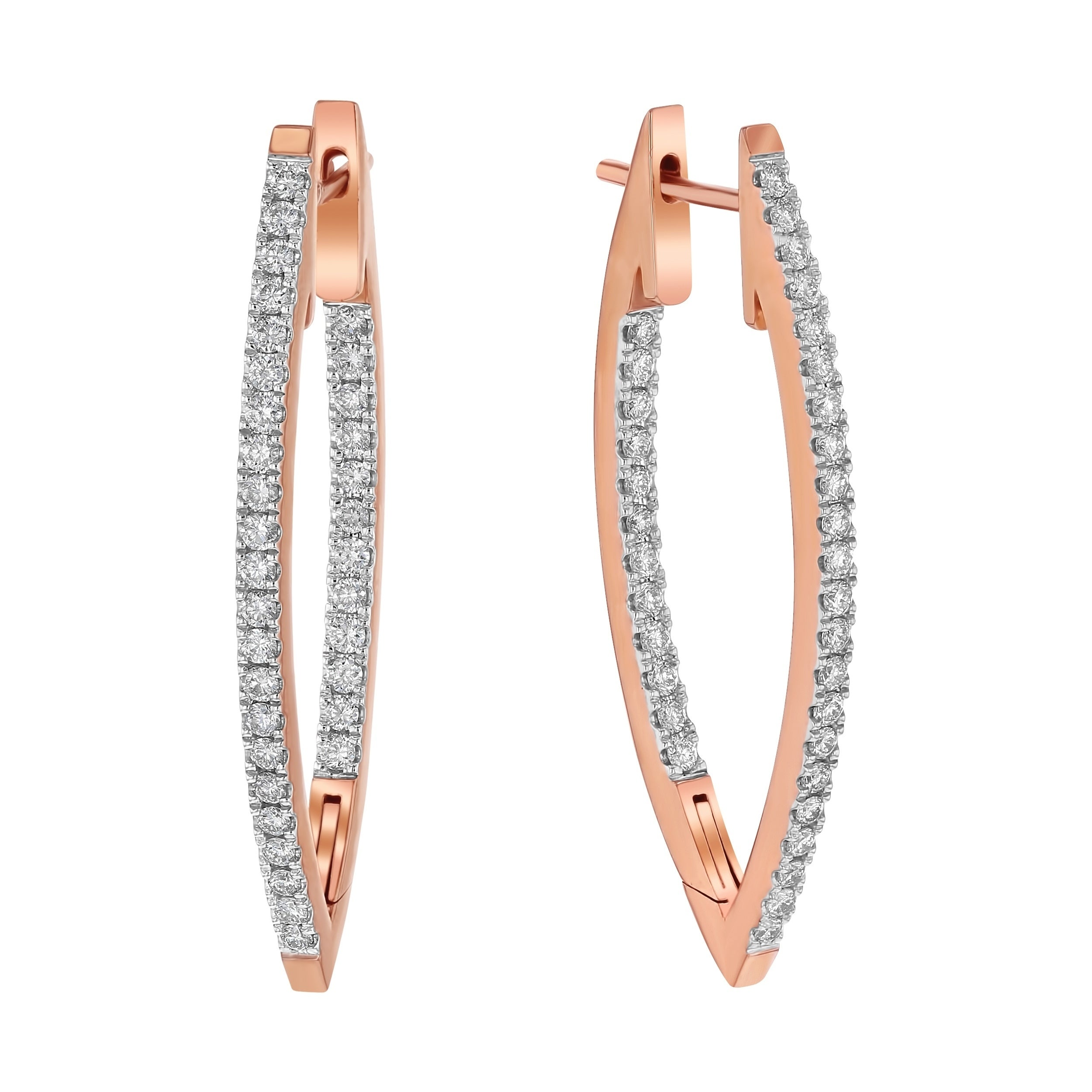 13ead0592d0f86 14k Rose Gold 1ct TDW Marquise Inside Out Diamond Hoop Earrings - White H-I