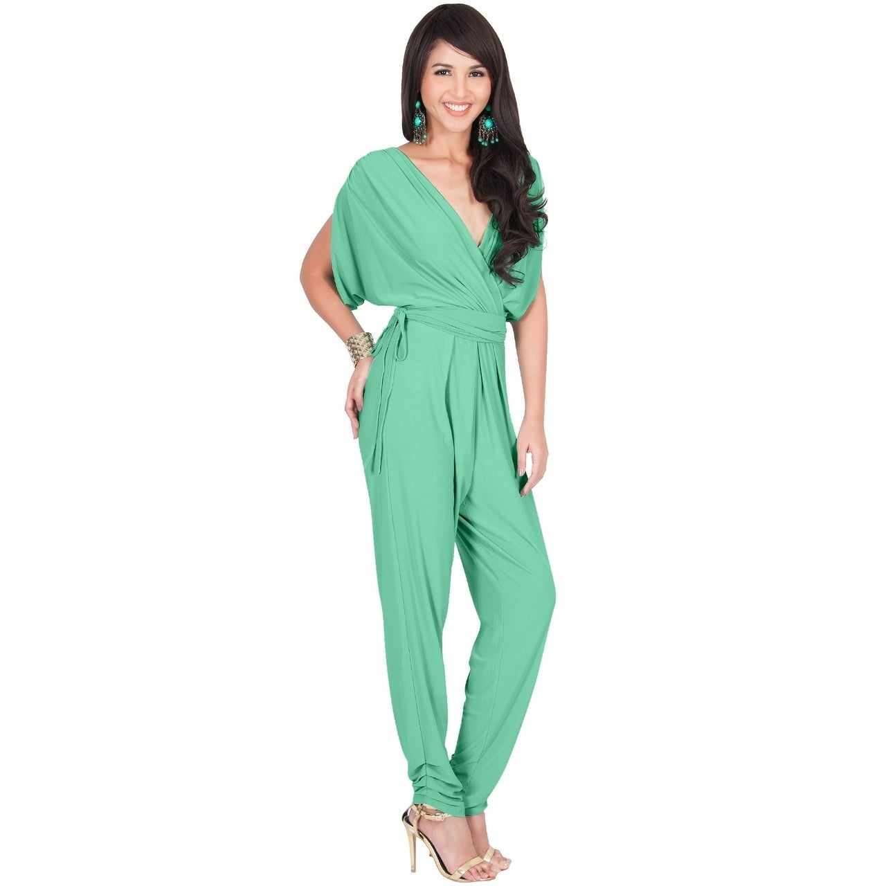b8e7d9d4d73 Shop KOH KOH Womens Sexy V-Neck Short Sleeve Party Long Romper Jumpsuit -  Free Shipping Today - Overstock - 22532799