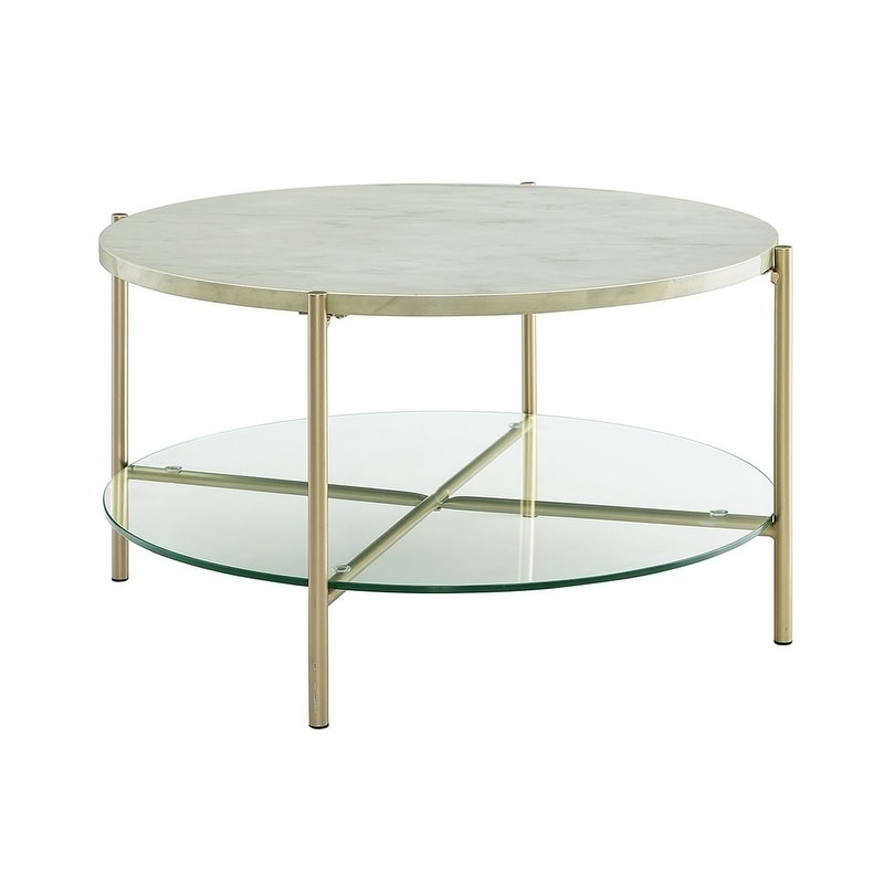 32 Round Faux Marble Coffee Table X 17h On Free Shipping Today 22536520