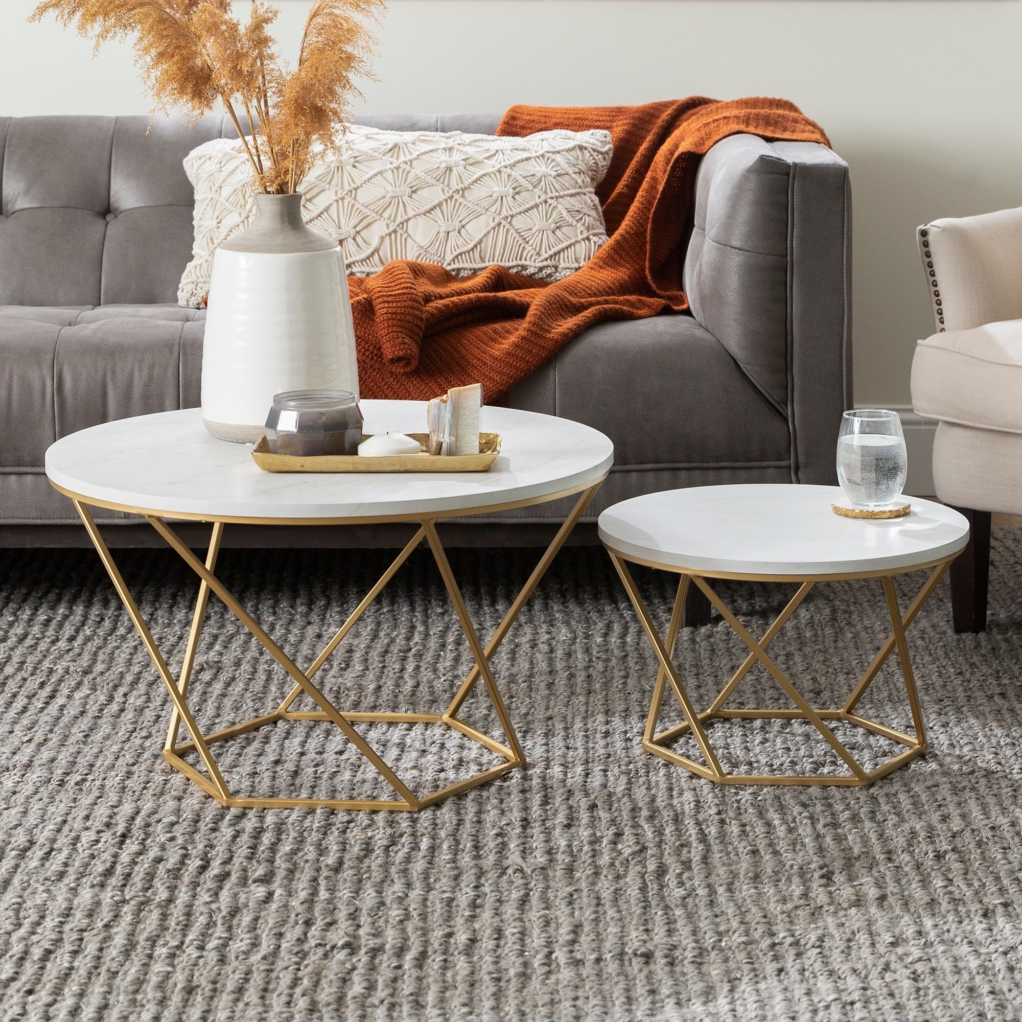 - Shop Grant Round Nesting Table Set - Gold / White Faux Marble