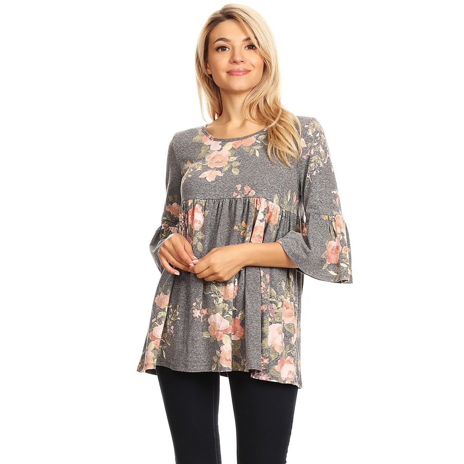 0a81f139fde Shop Women's Print Baby Doll Style Pleated Tunic Top - On Sale - Free  Shipping On Orders Over $45 - Overstock - 22538283