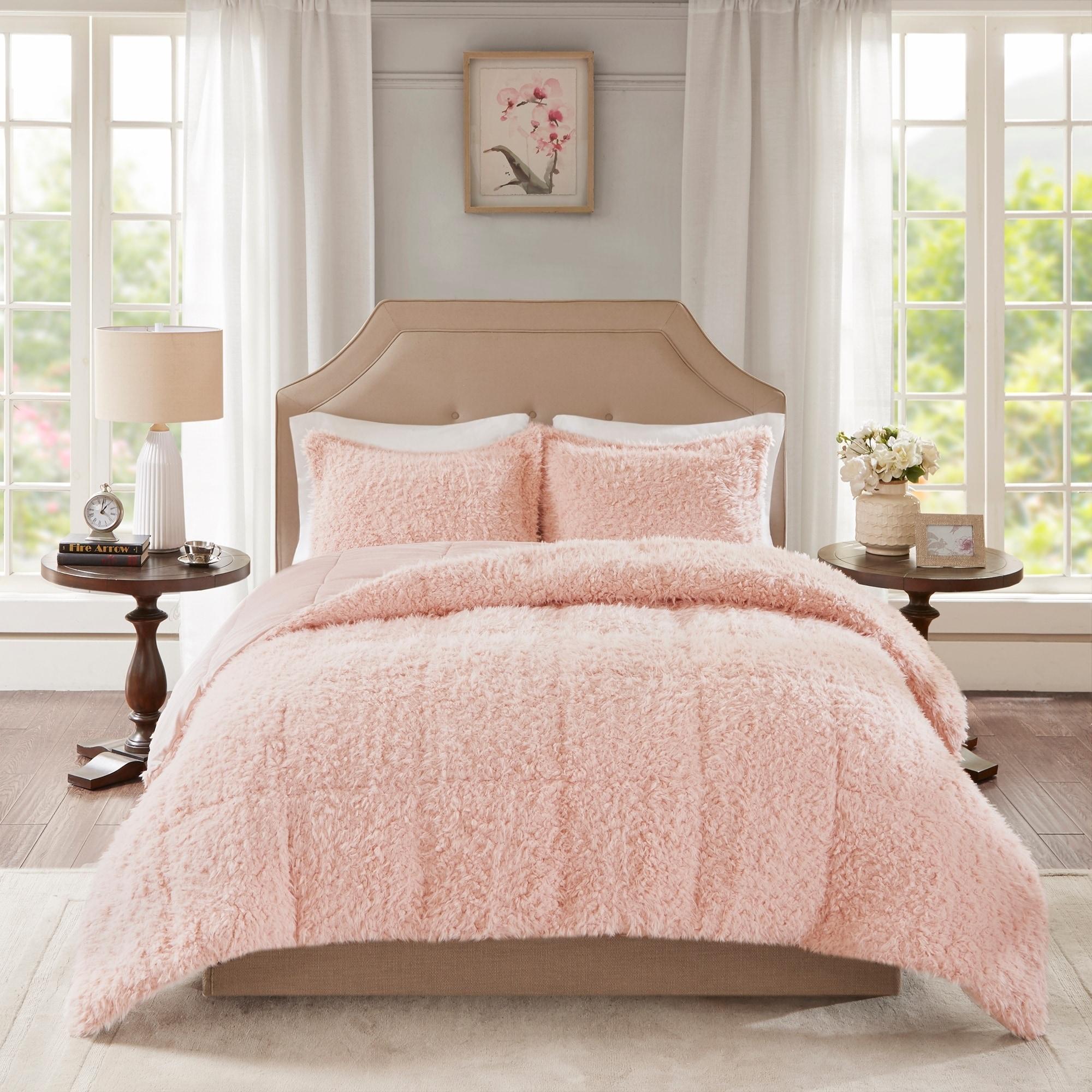 Madison Park Zoe 100 Percent Polyester Solid Faux Fur Comforter Set 2 Color Option