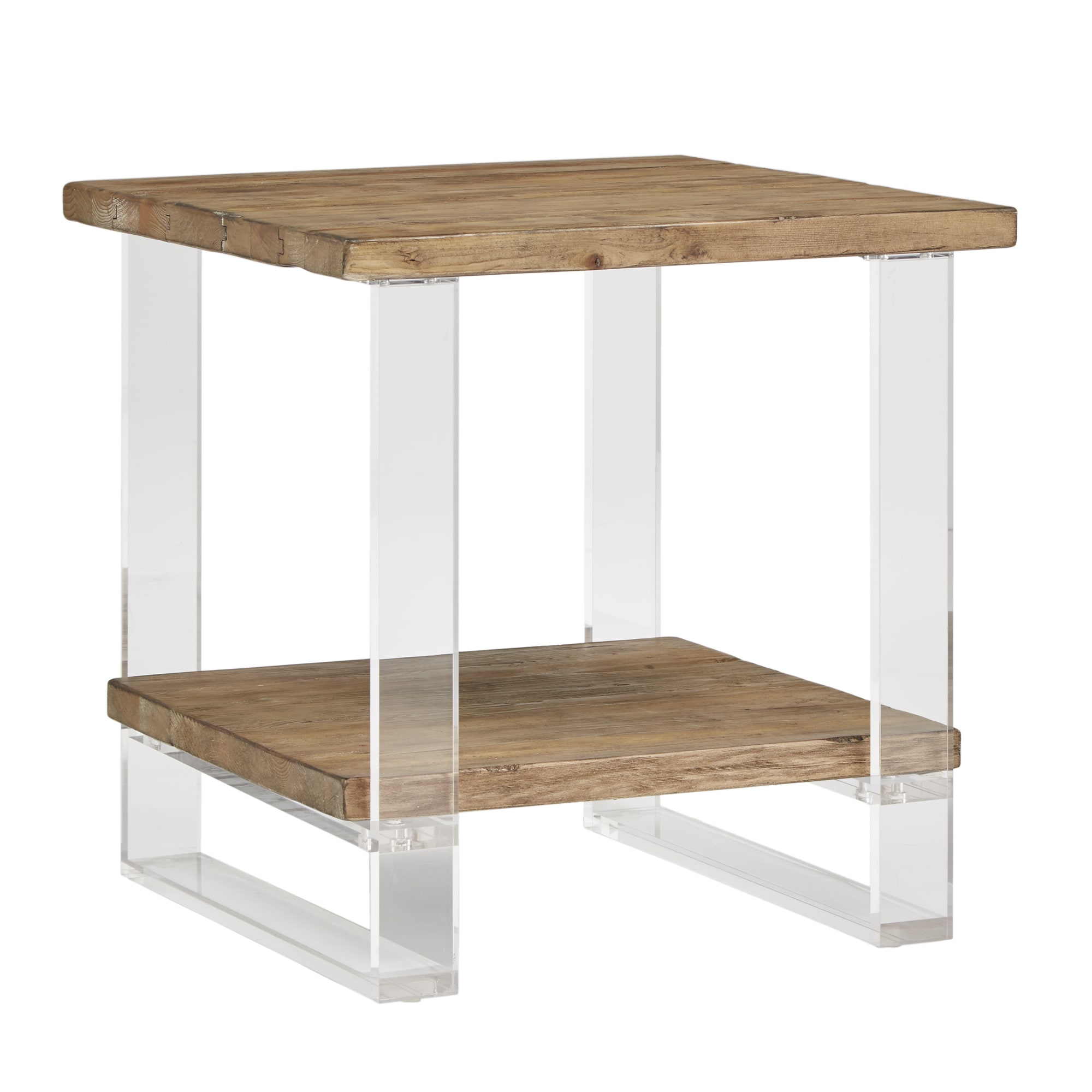 Shop annika reclaimed wood and acrylic end table by inspire q artisan free shipping today overstock com 22541478