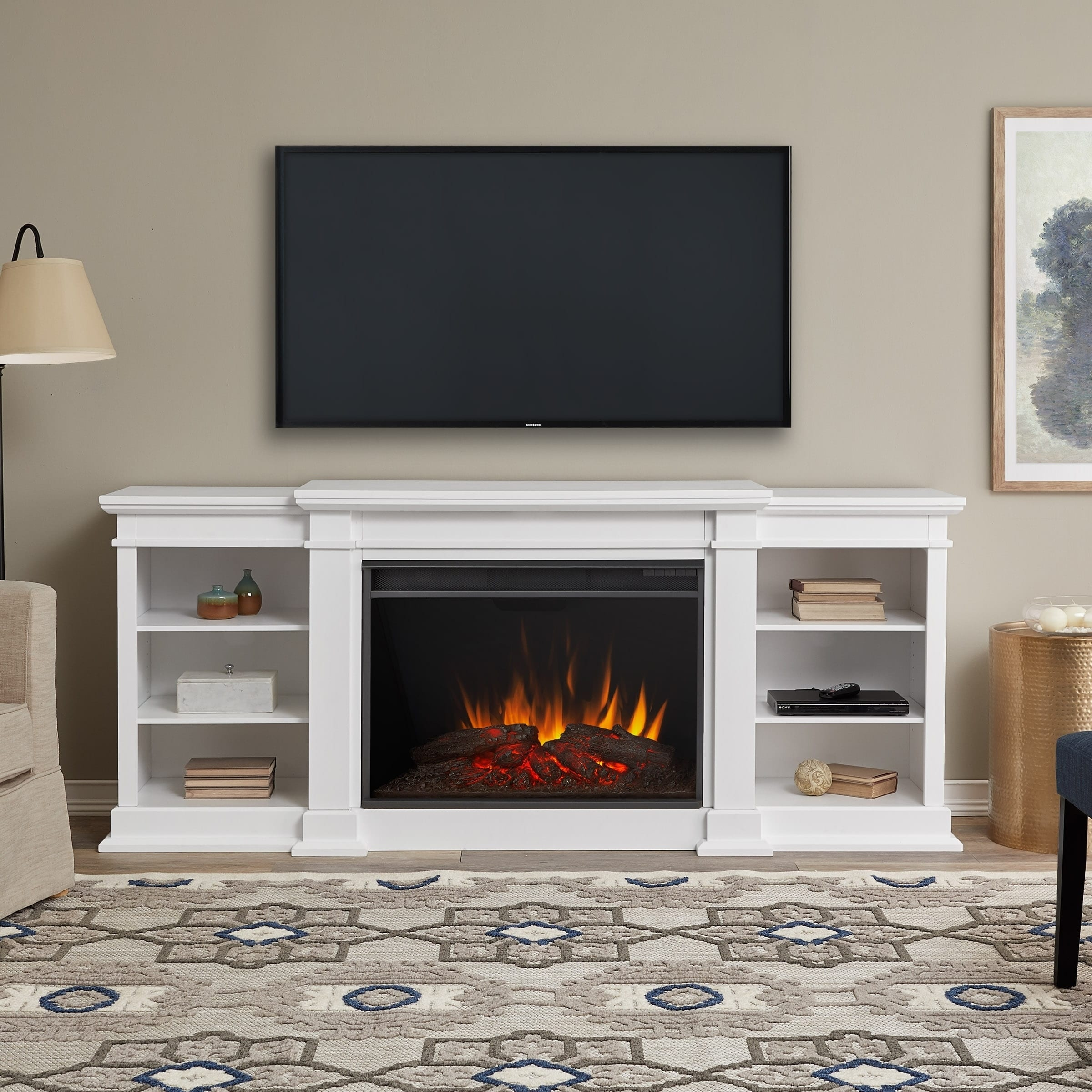 By 34 25h 81 Electric Grand Entertainment Flame 125l X Real 19w In White Eliot Fireplace v0Ow8Nmn