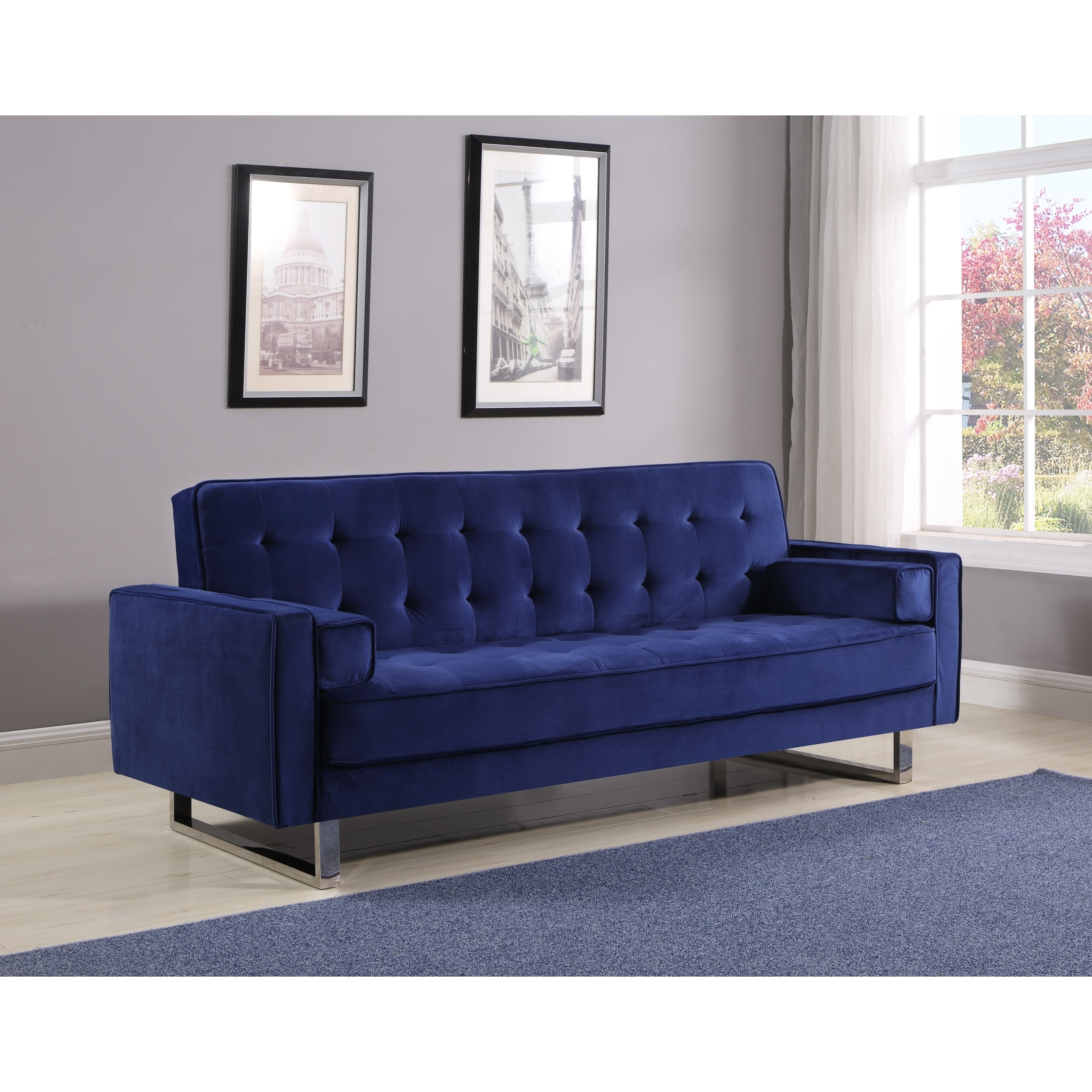 Best Quality Furniture Velvet Tufted Click Clack Sofa Bed Free Shipping Today 22543759