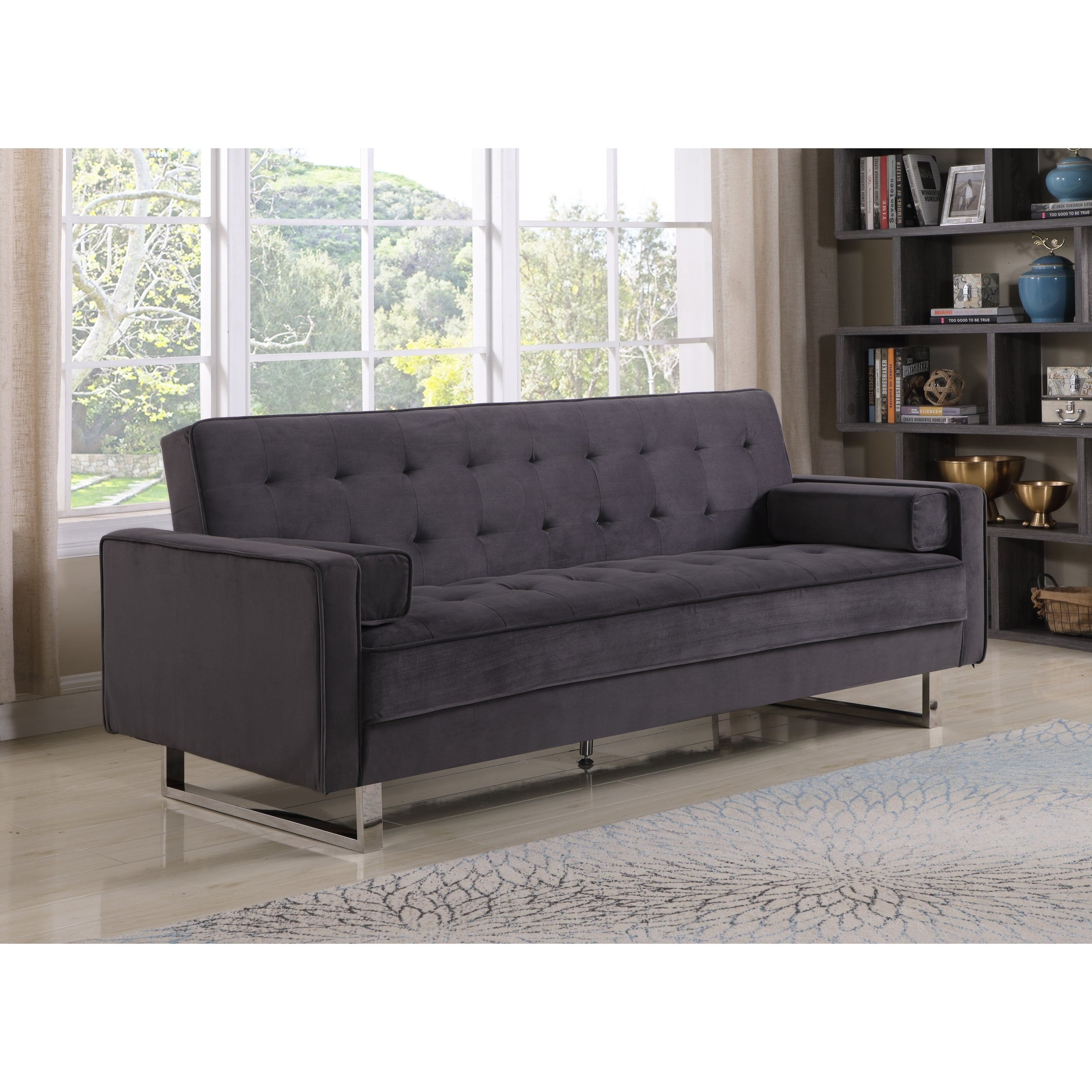 Shop best quality furniture velvet tufted click clack sofa bed free shipping today overstock com 22543759