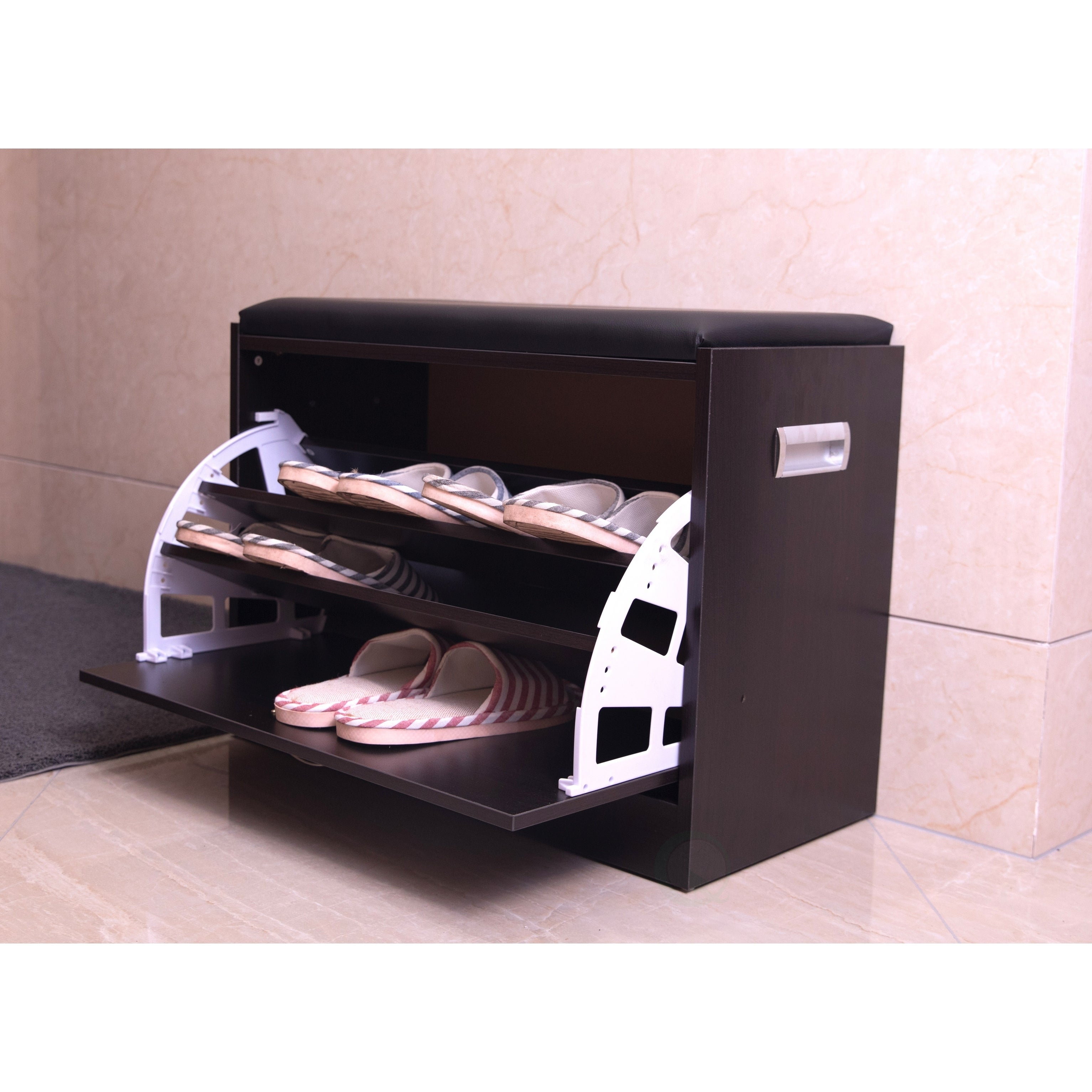 Shop Black Wooden Fold Out Shoe Organizer   Shoe Storage Bench With Leather  Cushion   Free Shipping Today   Overstock.com   22543832