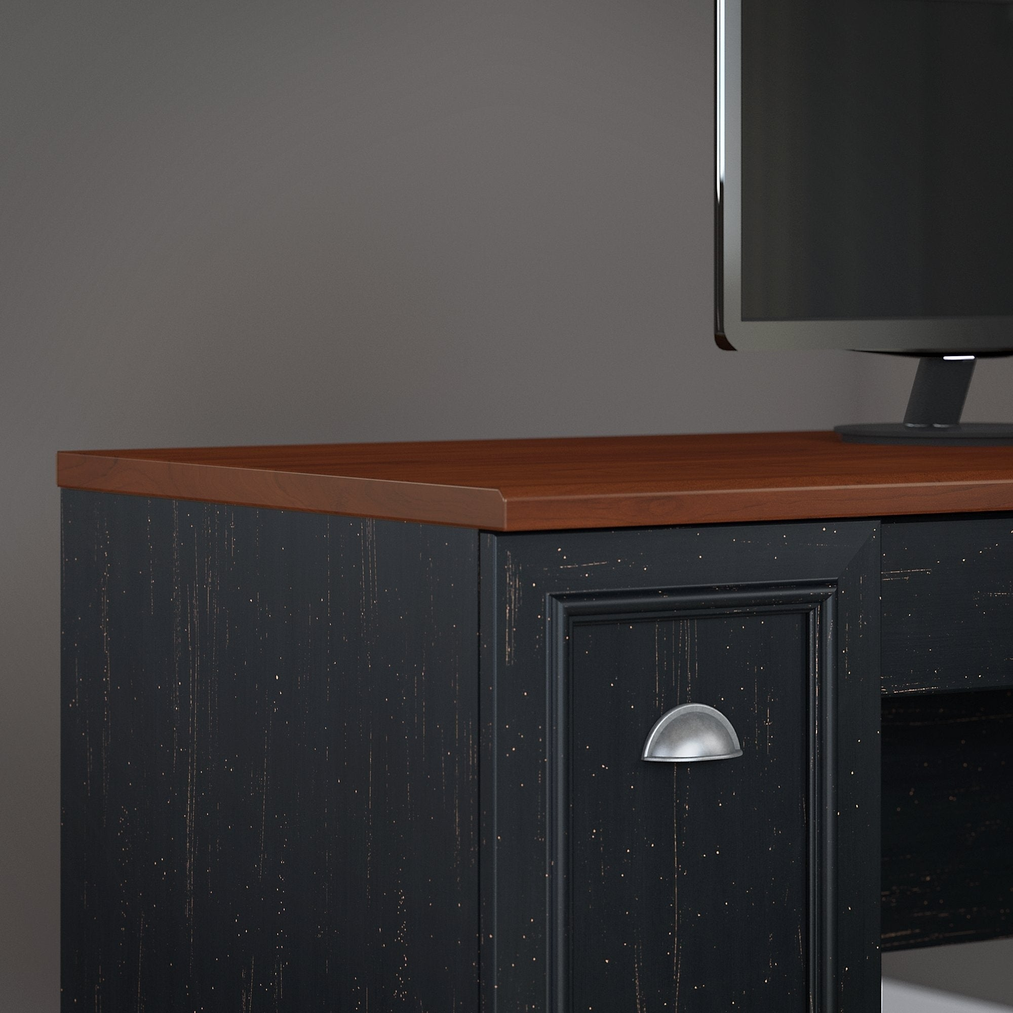 Shop Copper Grove Khashuri L Shaped Desk With Hutch, Storage Cabinets, And  5 Shelf Bookcase In Antique Black And Hansen Cherry   Free Shipping Today  ...
