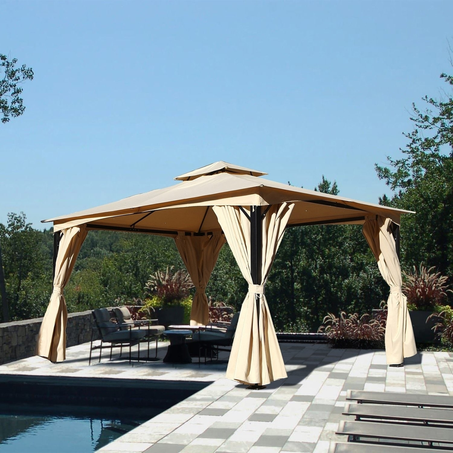 Shop Grand Patio 10x14Ft Double Square Tops Gazebo With Hardtop Canopy    Free Shipping Today   Overstock.com   22545985