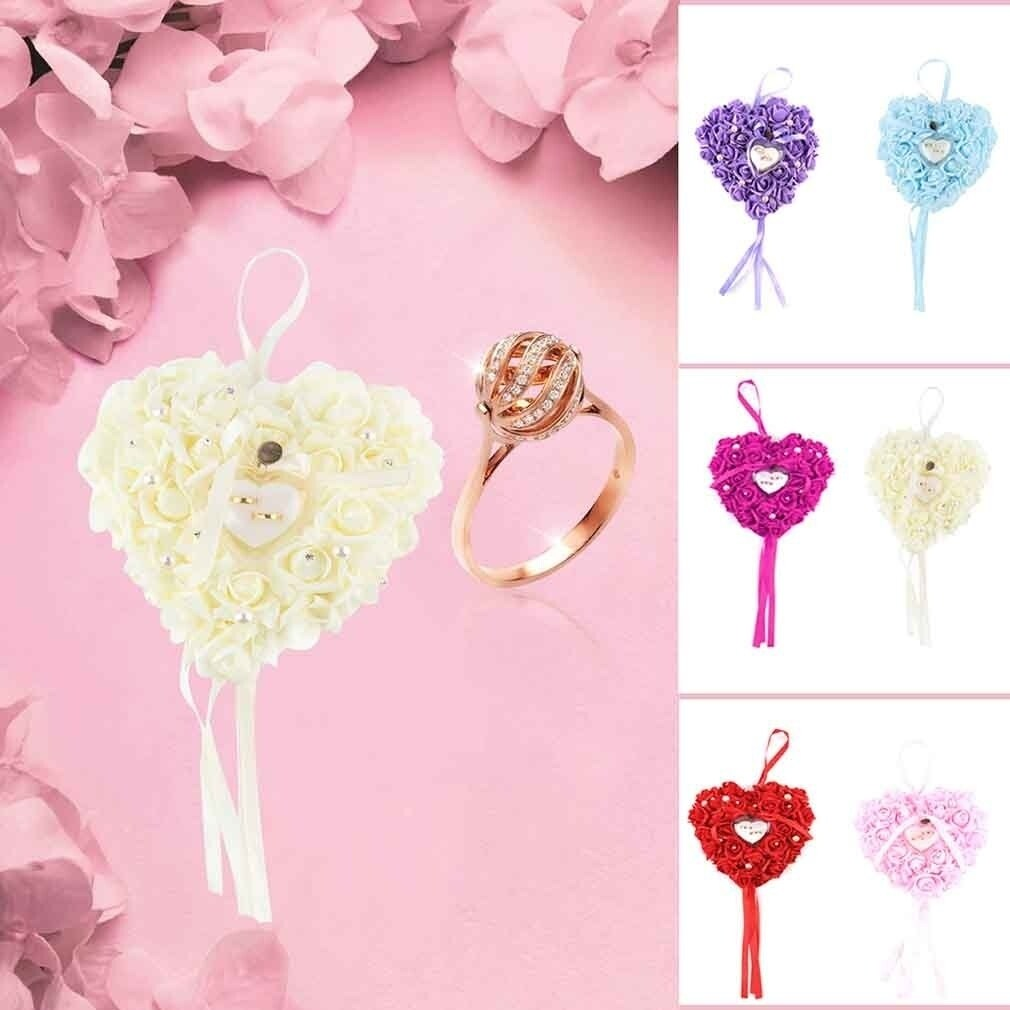 Romantic Rose Wedding Favors Heart Shaped Gift Ring Box Pillow ...