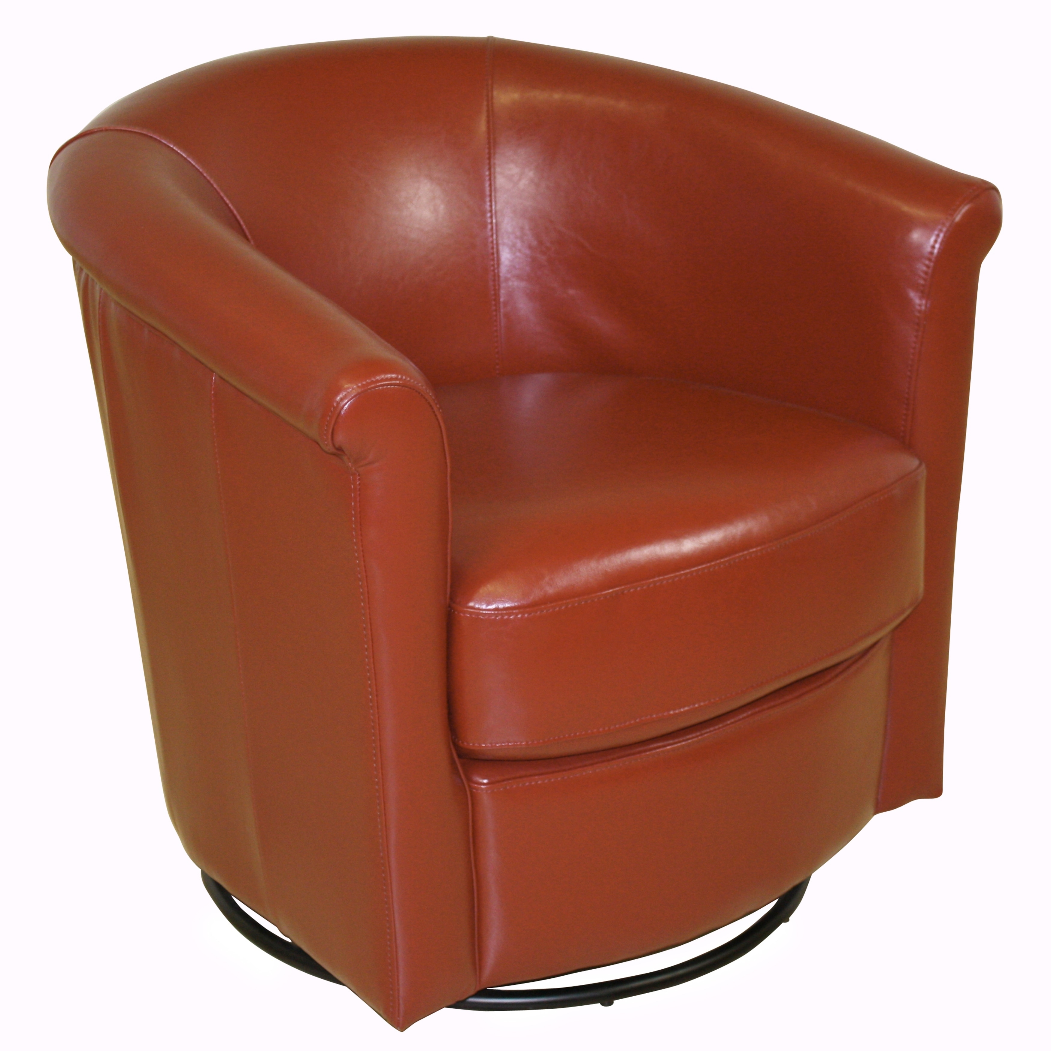 Porter Designs Marvel Contemporary Sunset Orange Leather Look Swivel Accent Chair Free Shipping Today 28182099