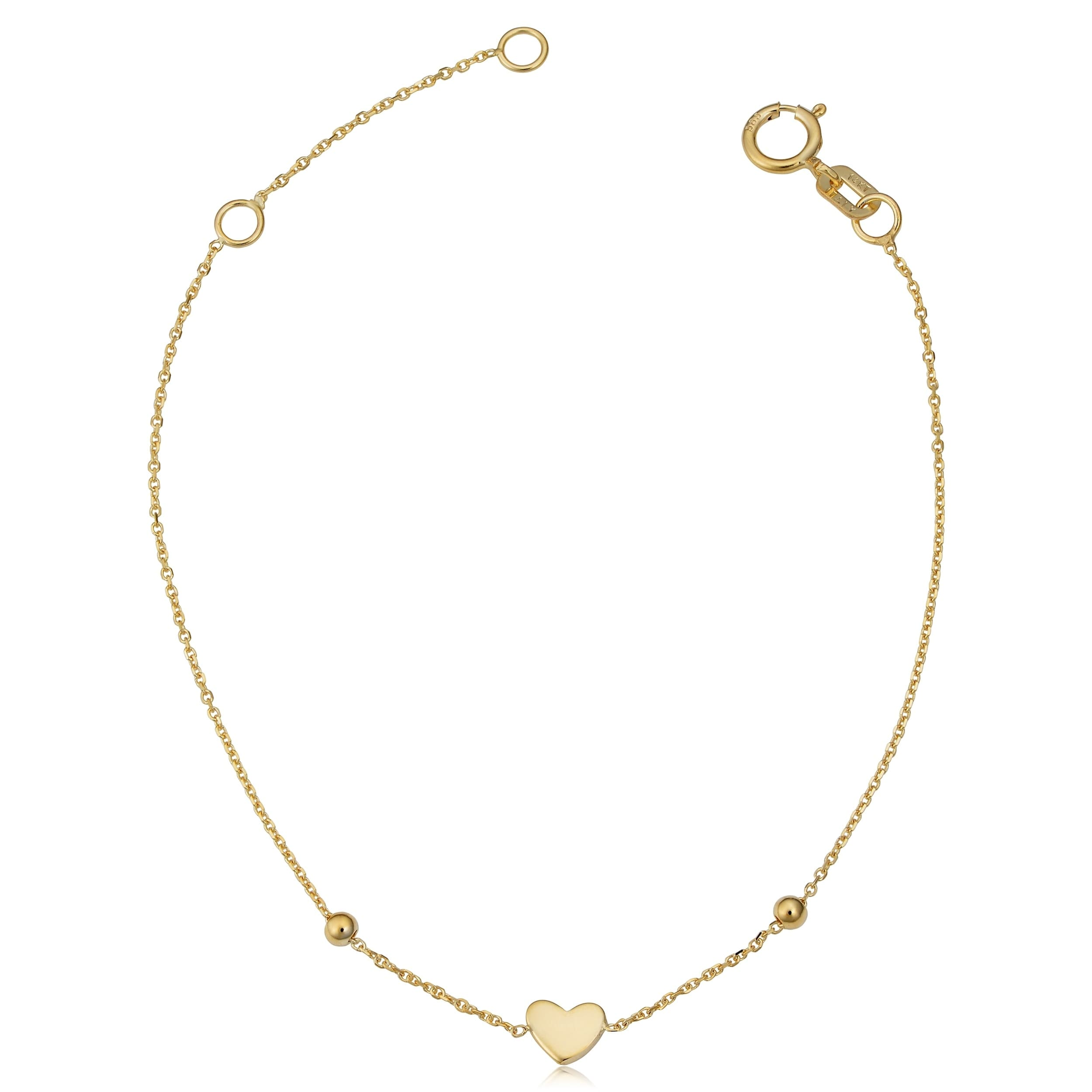 beec1c1275324 Fremada Italian 14k yellow gold heart and bead children s bracelet (fits  5.5 or 6.5 inches)
