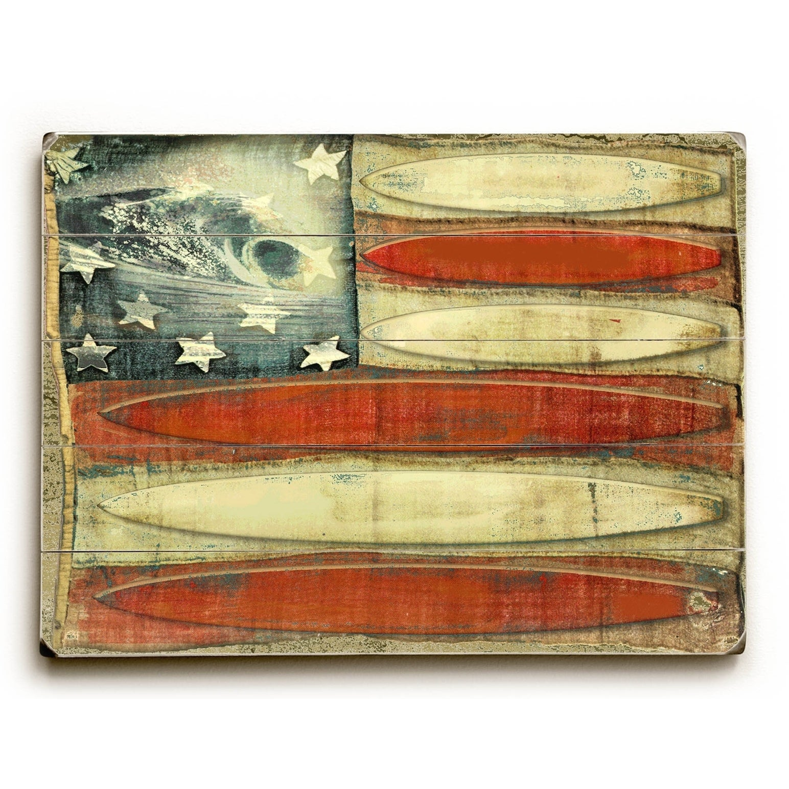 American Flag -Surfboards - 9x12 Solid Wood Wall Decor by Lynne ...