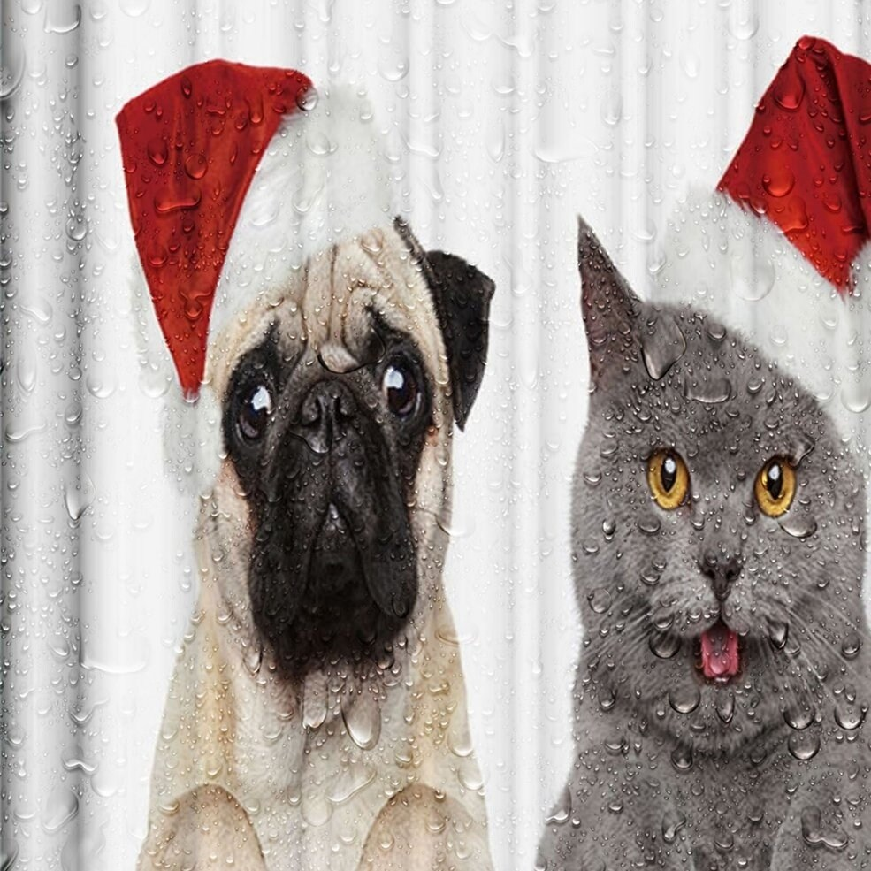 Christmas Cap Dog Cat Printed Waterproof Washable Bathroom Shower Curtain