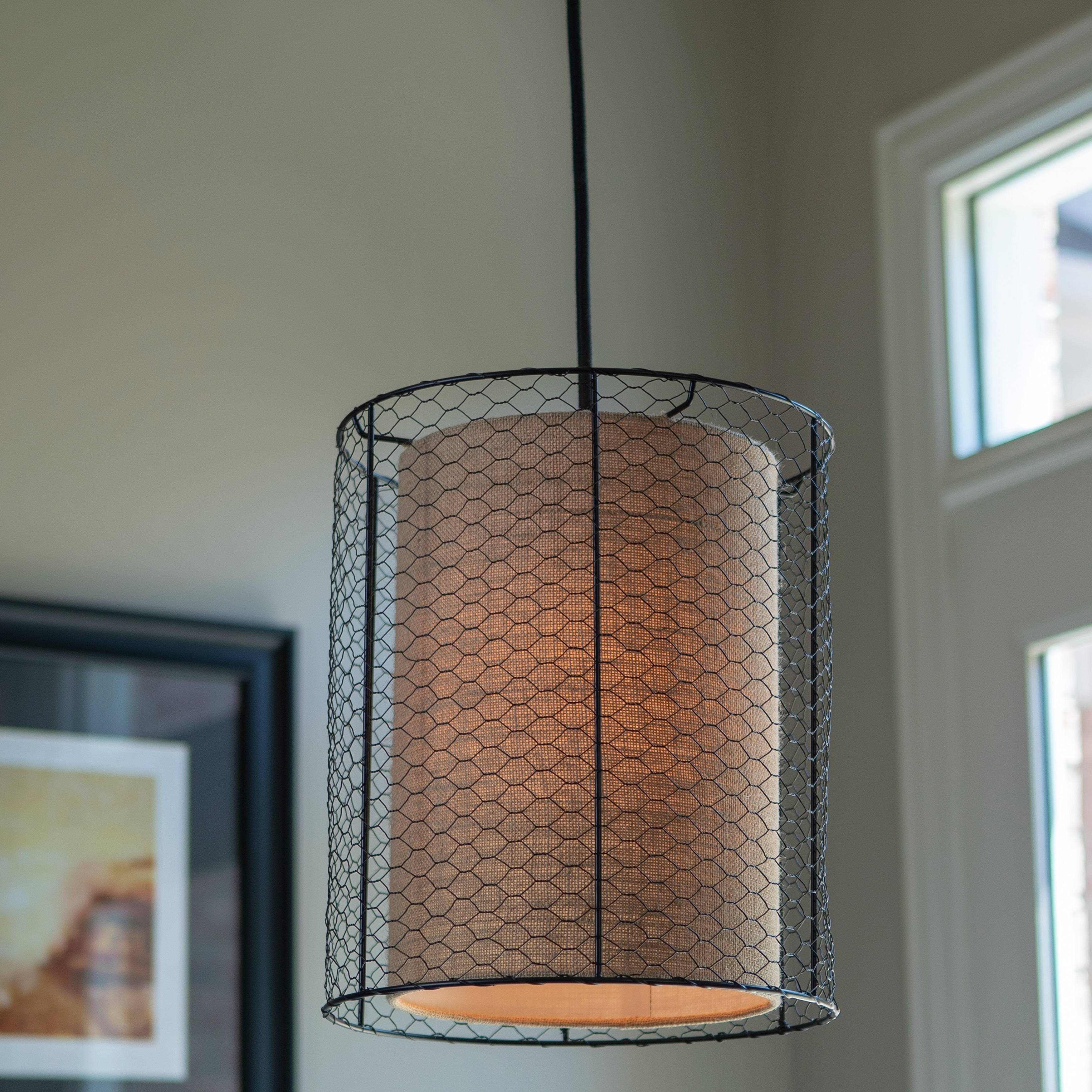 Cooper Chicken Wire and Burlap Pendant - Free Shipping Today ...