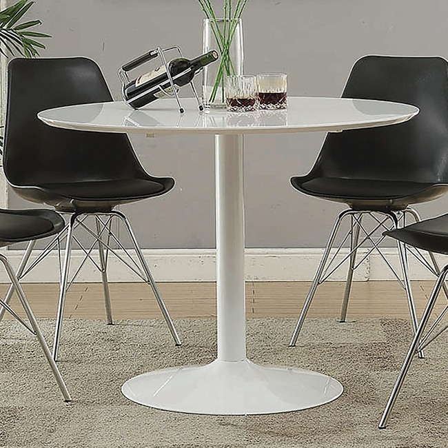Peachy Lowry Mid Century Modern White Round Dining Table 29 50 X 40 Home Remodeling Inspirations Genioncuboardxyz