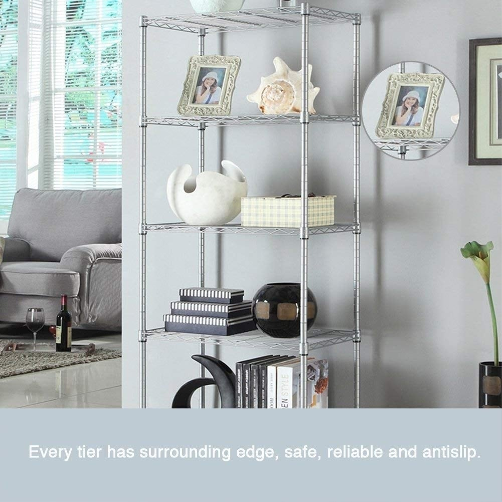 JS HOME 5-Tier Wire Shelving Unit Heavy Duty Storage Organizer ...