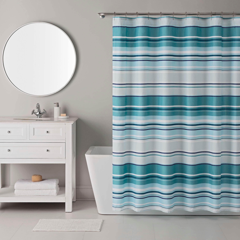 Shop IZOD Bristol Blue Shower Curtain With 12 Piece Metal Roller Hook Set