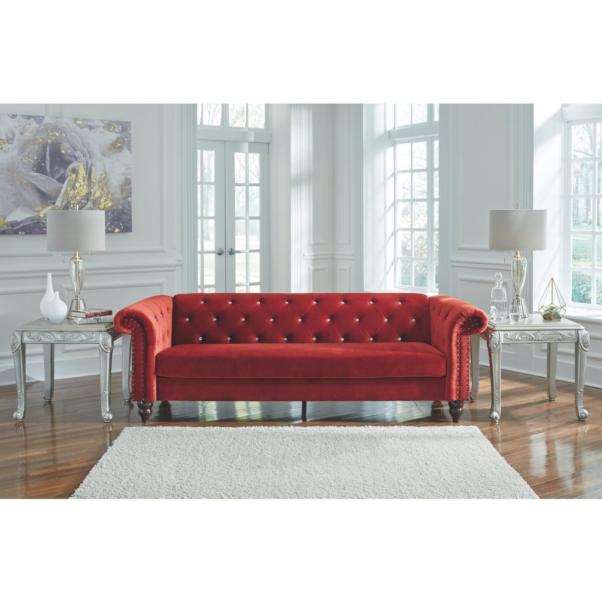 Signature Design By Ashley Malchin Red Contemporary Ready To Emble Sofa Free Shipping Today 22595389