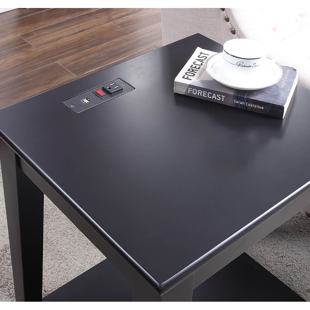 Shop Carter Black Wood Side Table With Charging Station Free
