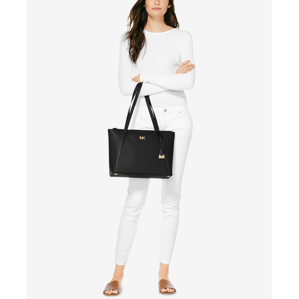 1f1c8a297867f6 Shop MICHAEL Michael Kors Maddie Medium East West Tote Black - Free  Shipping Today - Overstock - 22612719