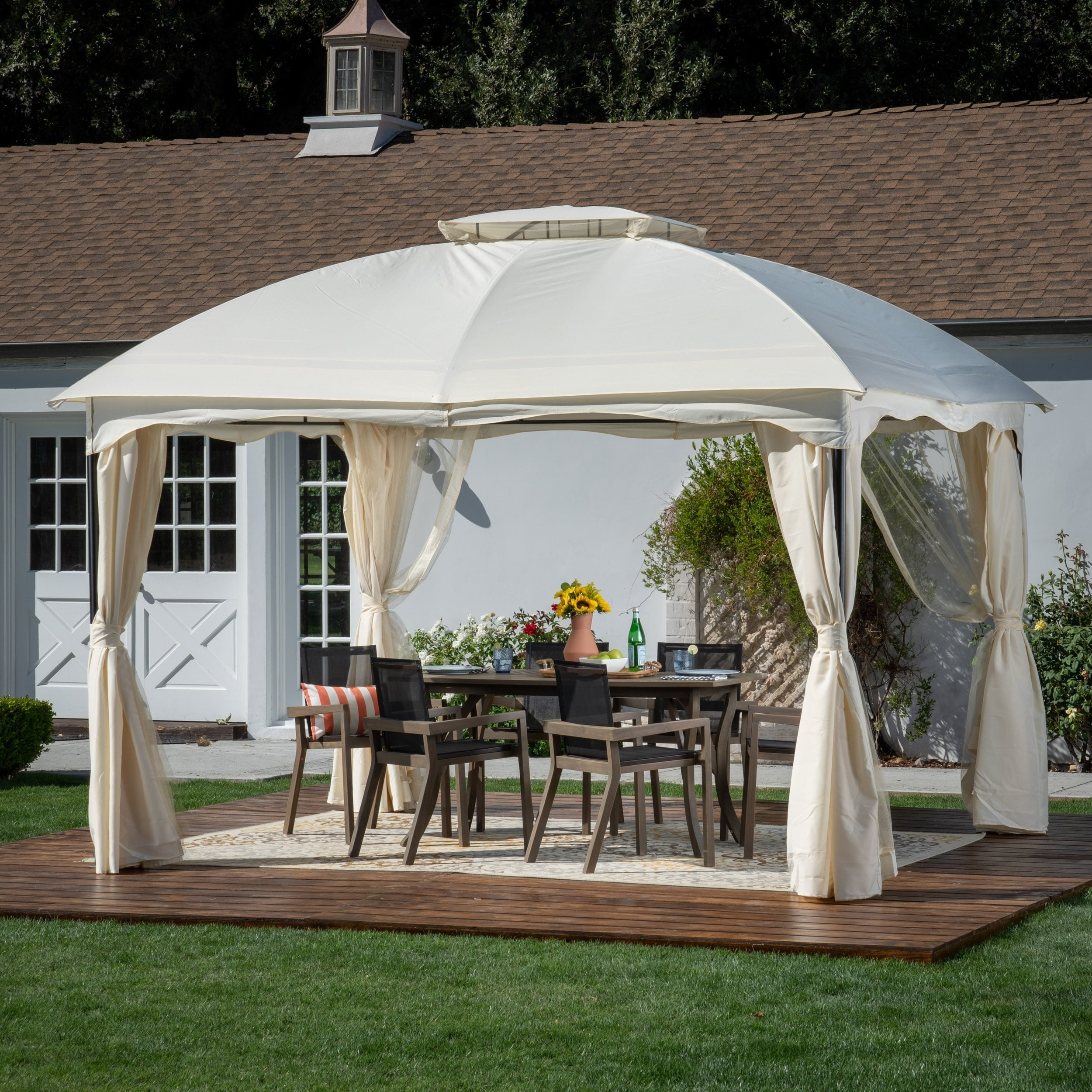 Gravina Outdoor 12 By 10 Water Resistant Fabric And Steel Gazebo Christopher Knight Home On Free Shipping Today 22632276