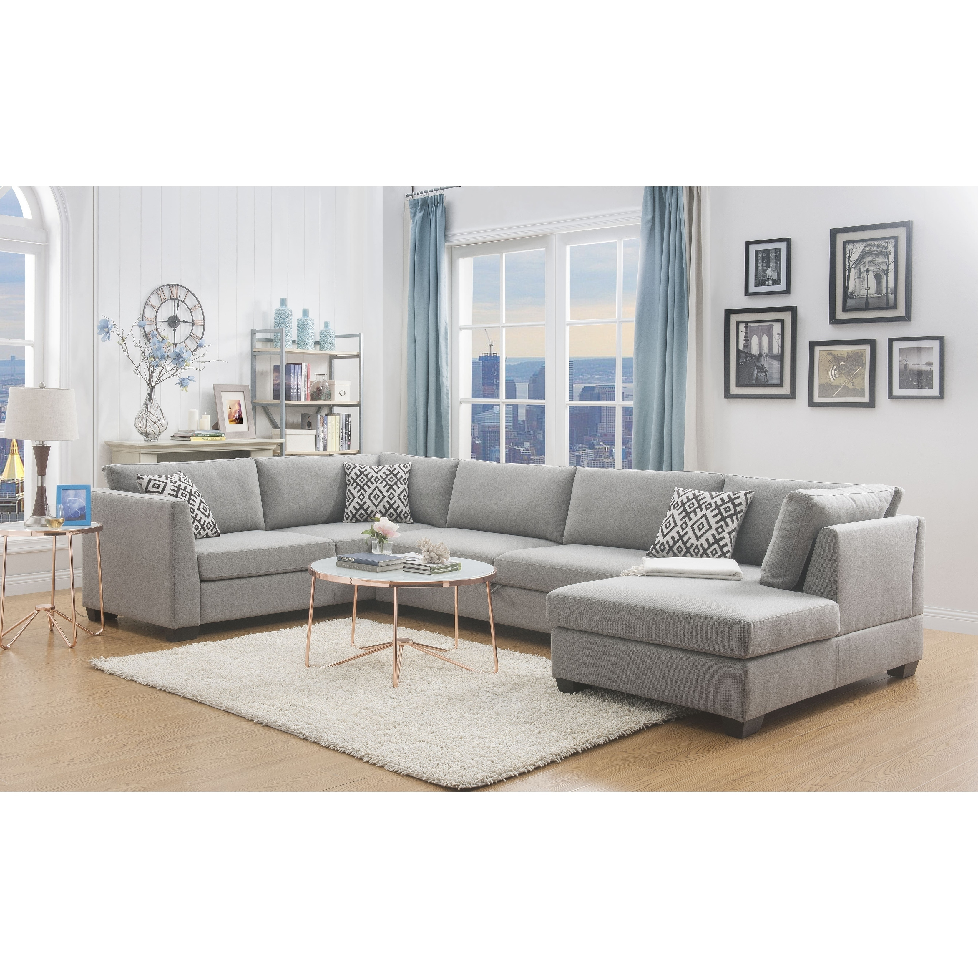 Shop acme cyclamen storage sectional sofa in grey linen free shipping today overstock com 22633249