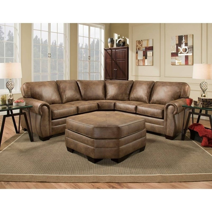 Shop Simmons Upholstery Shiloh Faux Leather Sectional With Ottoman On Sale Free Shipping Today Overstock 22639323