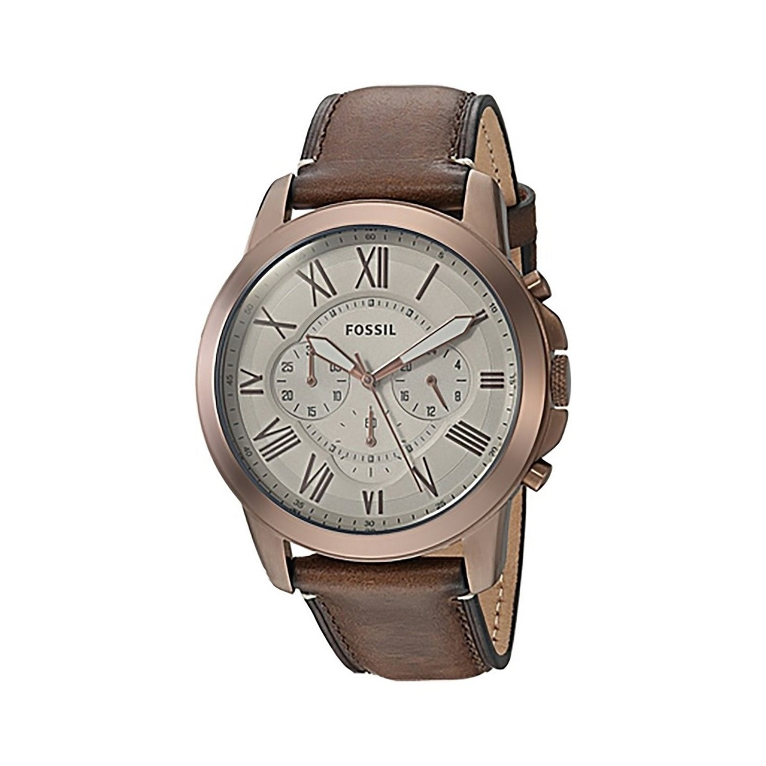 Shop Fossil Men s FS5344  Grant  Chronograph Stainless Steel and Brown  Leather 44mm Round Watch - Free Shipping Today - Overstock - 22639392 5873ec8995c2