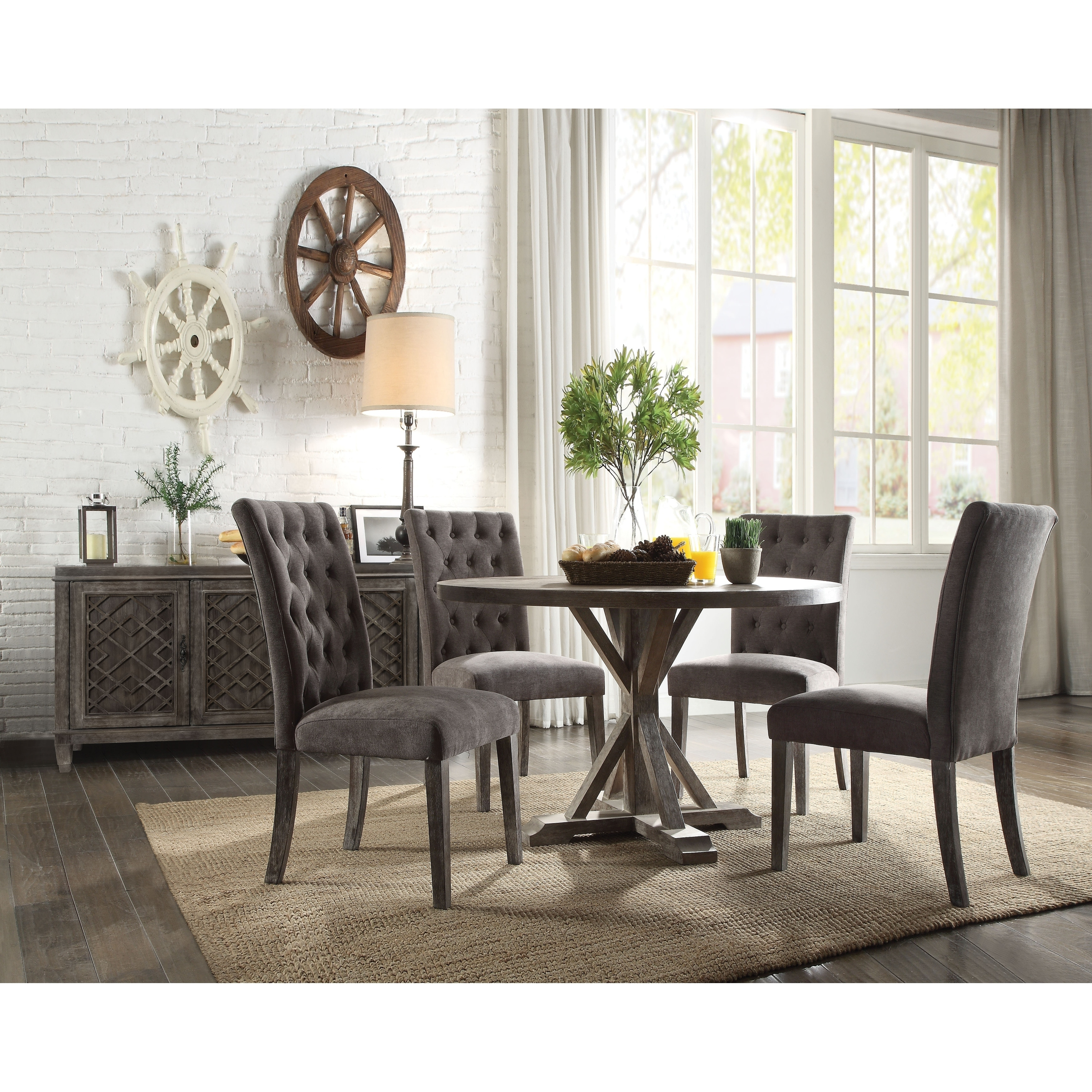 Shop acme carmelina weathered gray oak finish dining table free shipping today overstock com 22650527