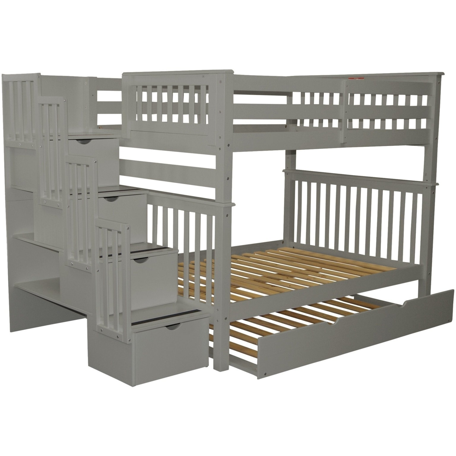 Bedz King Grey Pine Full Over Stairway Bunk Beds With 4 Drawers In The Steps And A Twin Trundle Free Shipping Today 22669713