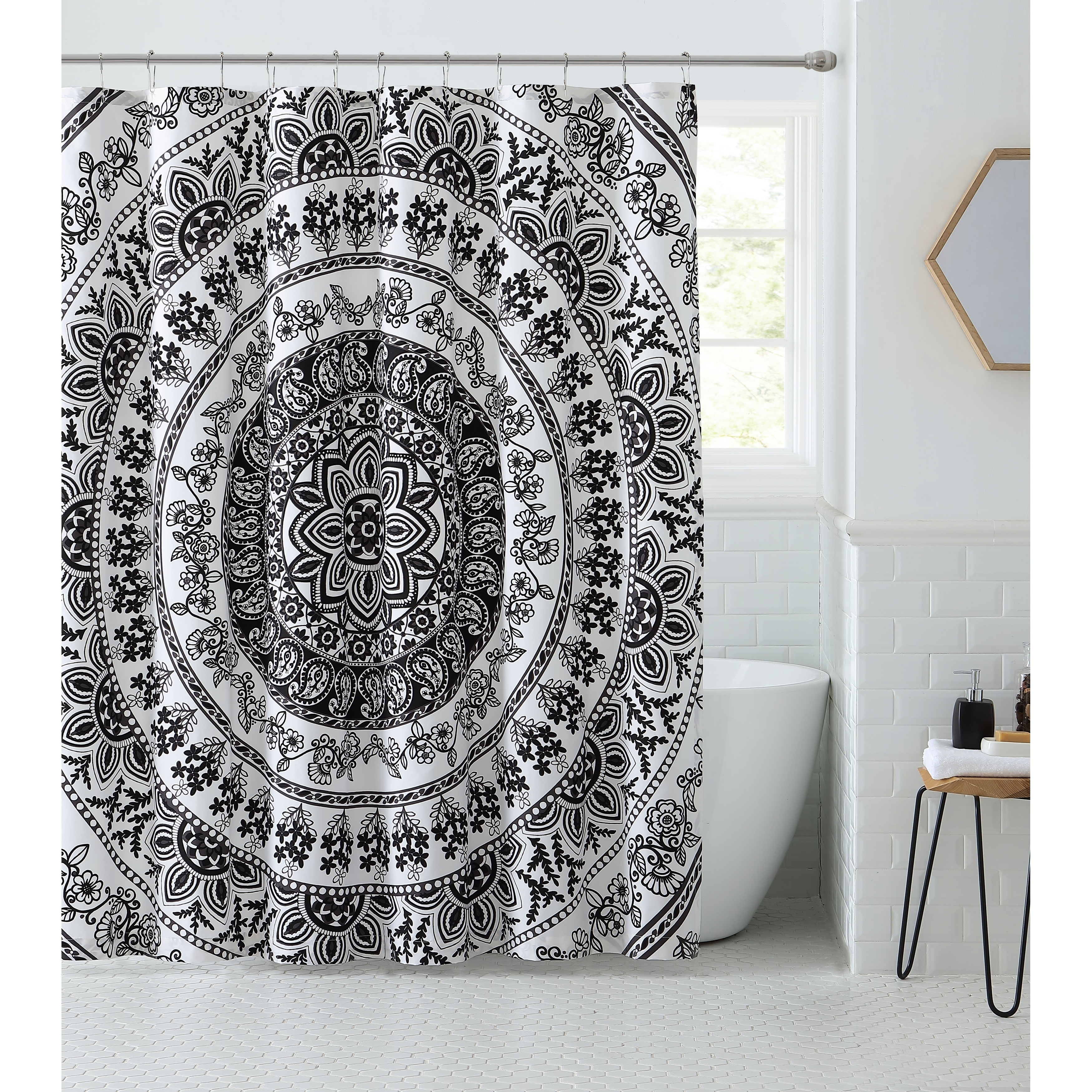 Shop VCNY Home Kaci Black White Medallion Shower Curtain