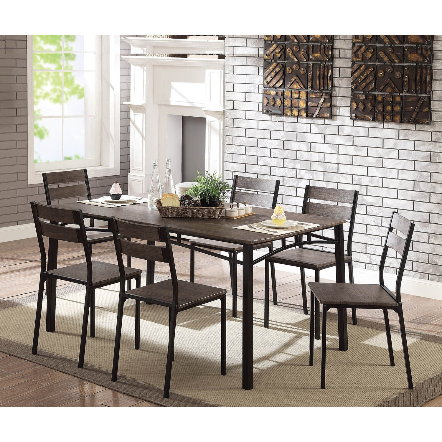 Shop furniture of america patton 7 piece rustic modern farmhouse dining table set on sale free shipping today overstock com 22671341
