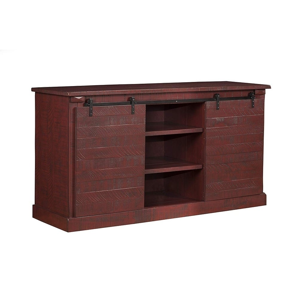 Shop Wooden Tv Stand With Sliding Doors And Spacious Shelves Red