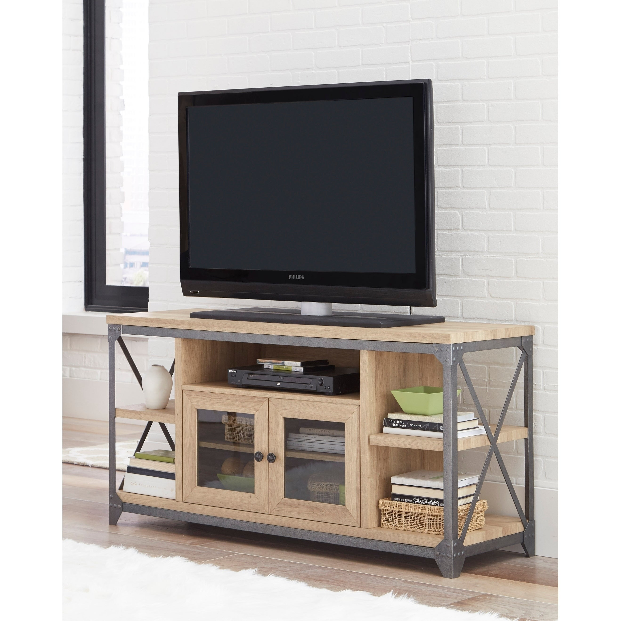 Wood And Metal Tv Stand With 5 Shelves Oak Brown Gray Free Shipping Today 22671962