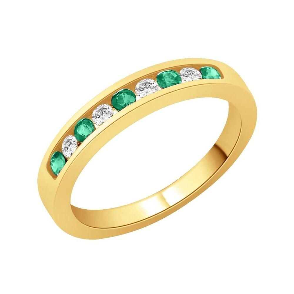 Emerald Wedding Band.14k Yellow Gold 1 10ct Tdw Diamond And 1 4ct Emerald Wedding Band G H I2