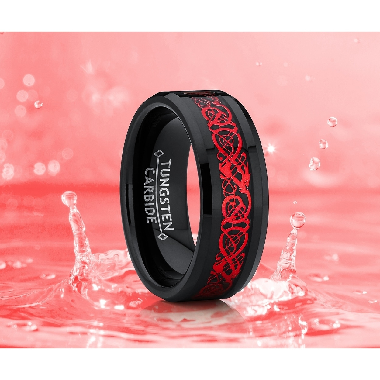 Shop Oliveti Black Tungsten Carbide Red Dragon Ring Wedding Band ...