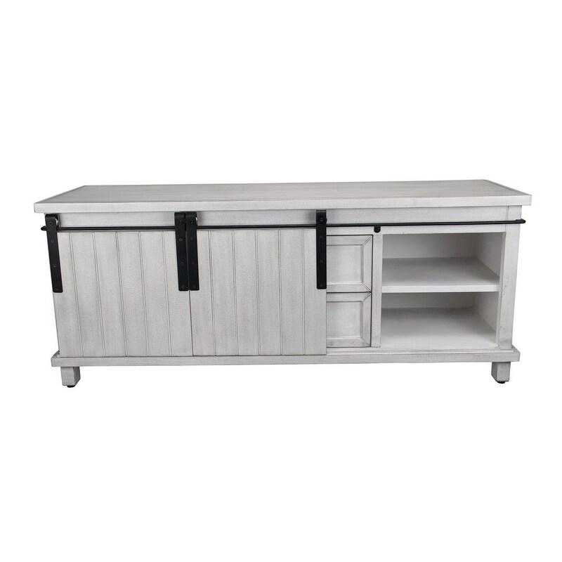 Charmant Cheungu0027s Handmade White Low Console Cabinet With Sliding Doors And 2 Drawers