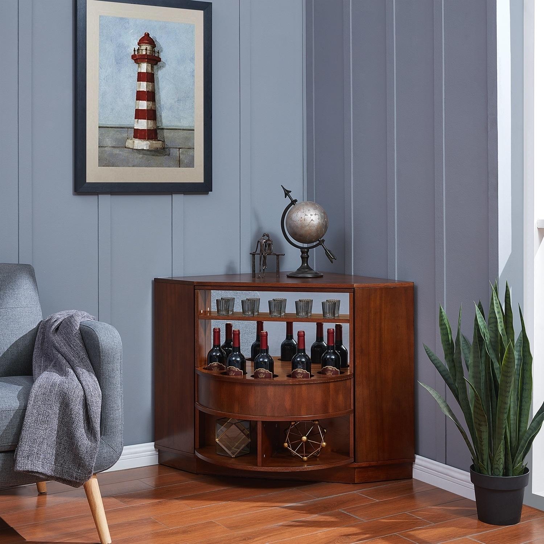Holly Martin Hentz Midcentury Modern Rotating Corner Bar Cabinet