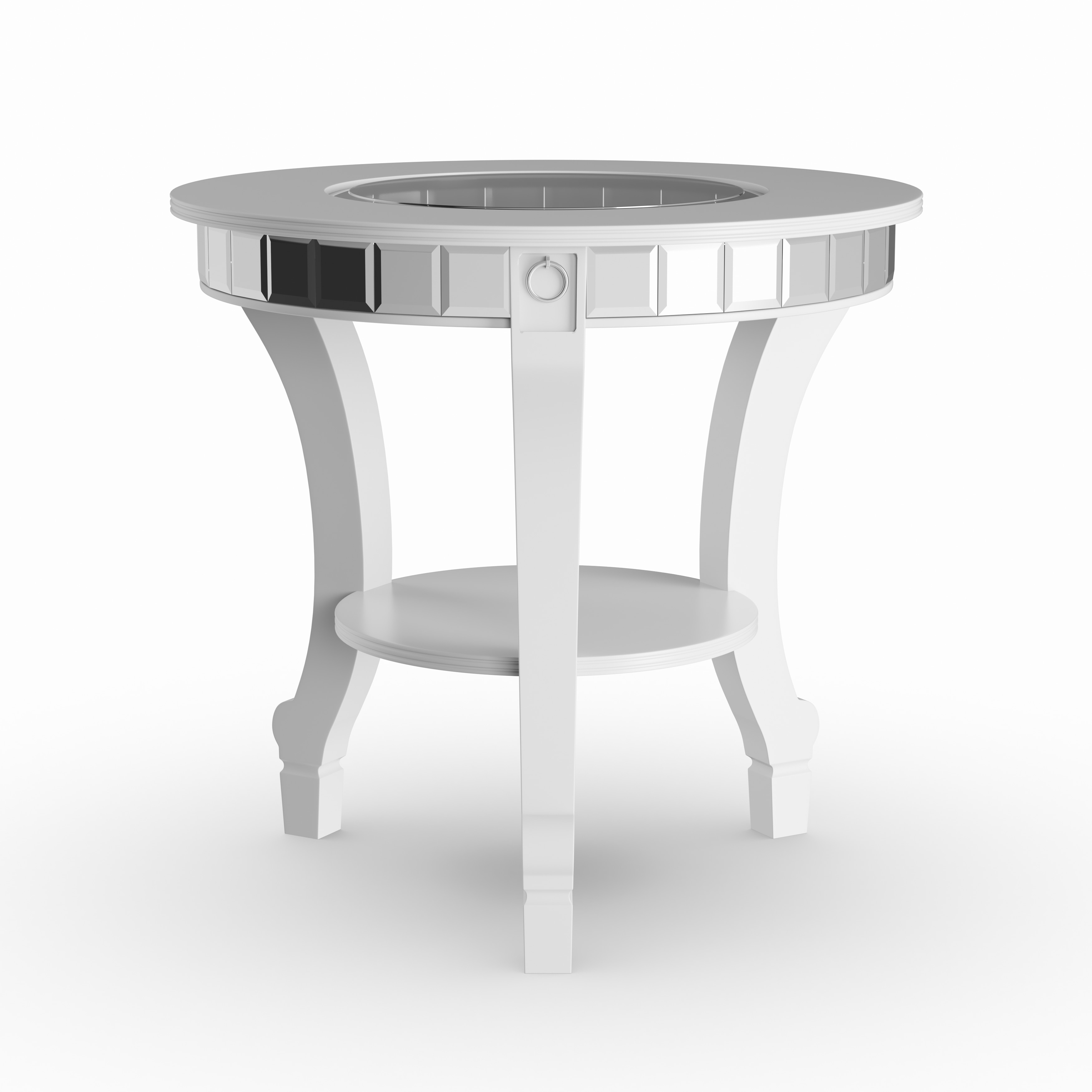 Silver Orchid Olivia Glam Mirrored Round End Table Matte Free Shipping Today 22695094