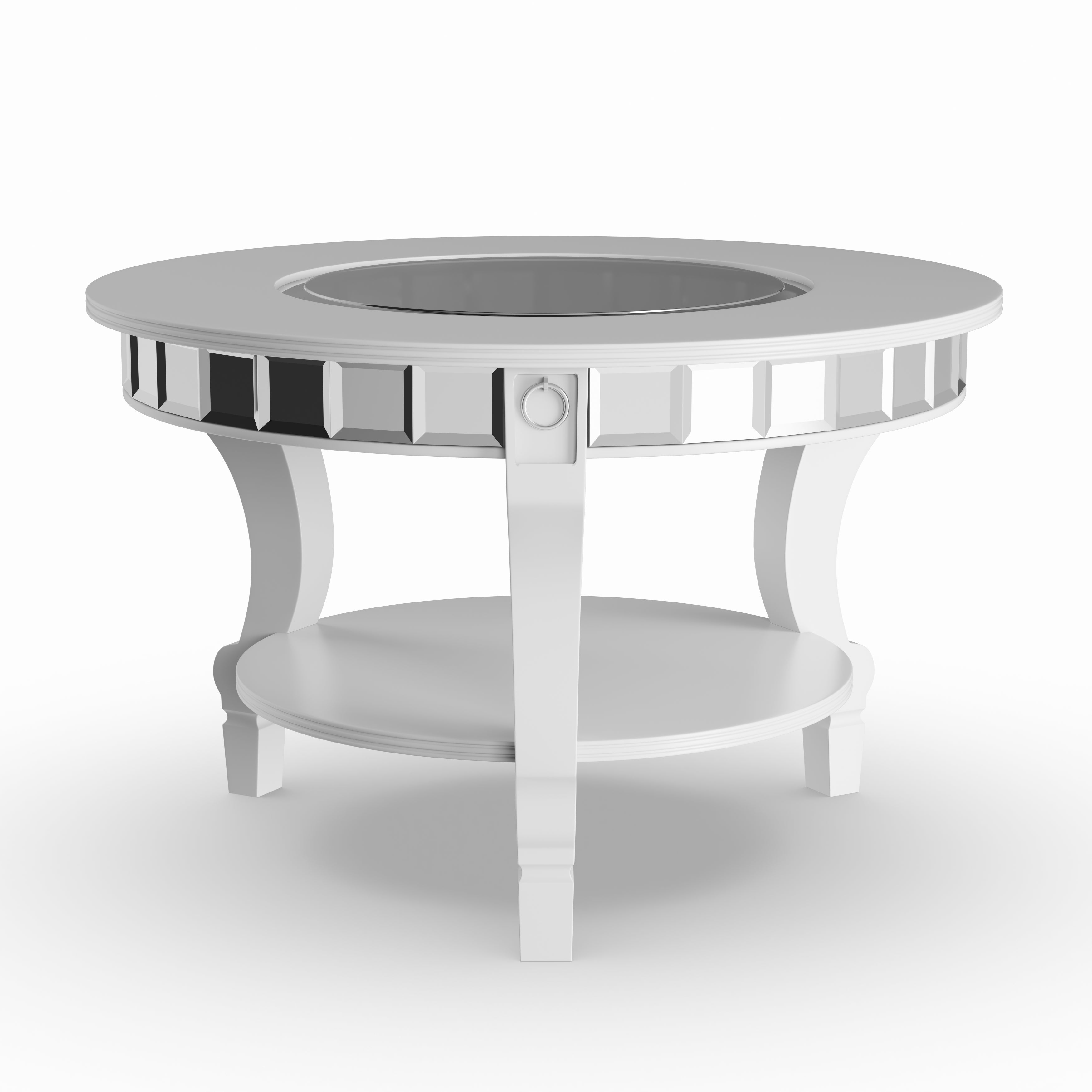 Silver Orchid Olivia Glam Mirrored Round Tail Table Matte Free Shipping Today 22695095