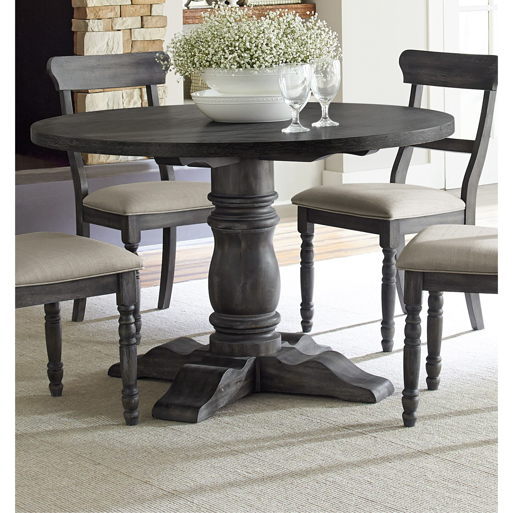 Shop gracewood hollow petri downs weathered pepper grey finish round dining table free shipping today overstock com 22695858