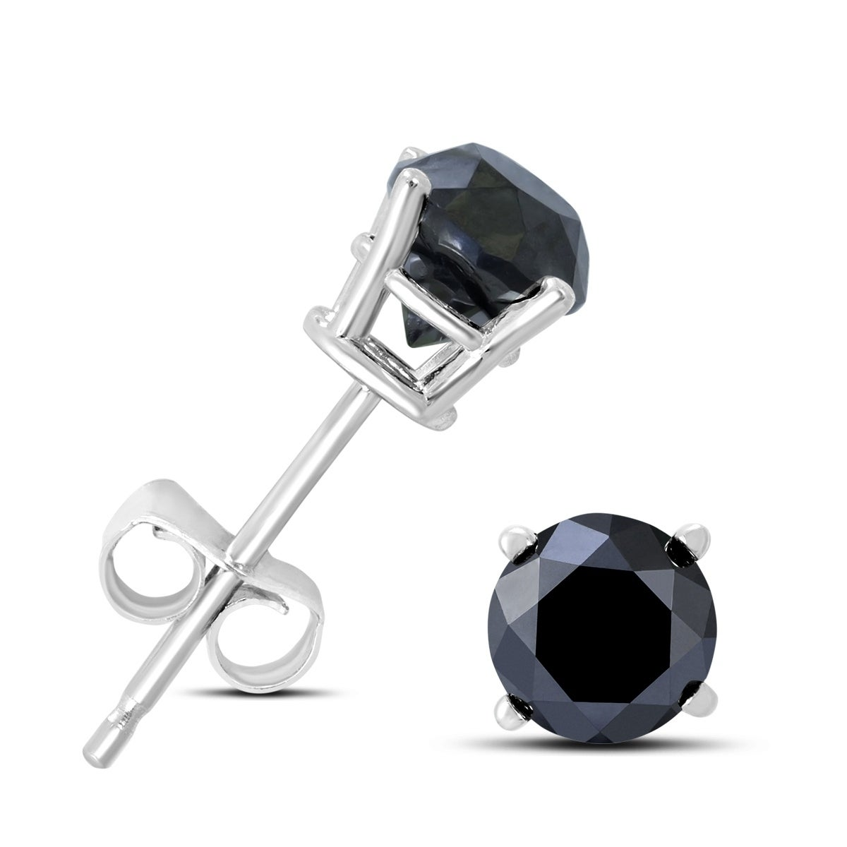 6d24a7e61 Shop 1/2 Carat TW Round Black Diamond Solitaire Stud Earrings in 10K White  Gold - On Sale - Free Shipping Today - Overstock - 22699115