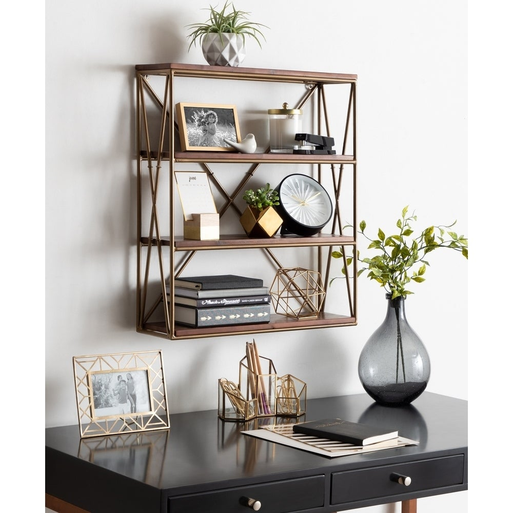 Kate And Laurel Ascencio 4 Layer Wood And Metal Wall Shelves